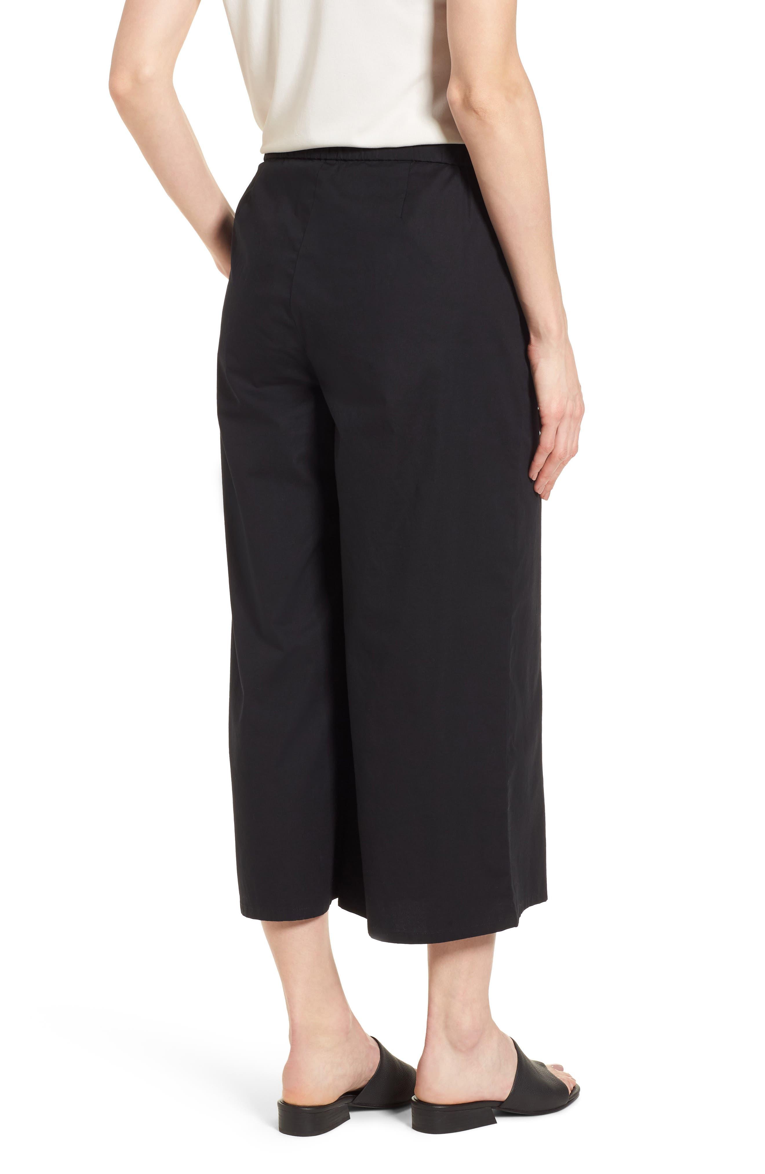 Foldover Wide Leg Crop Pants,                             Alternate thumbnail 2, color,                             Black