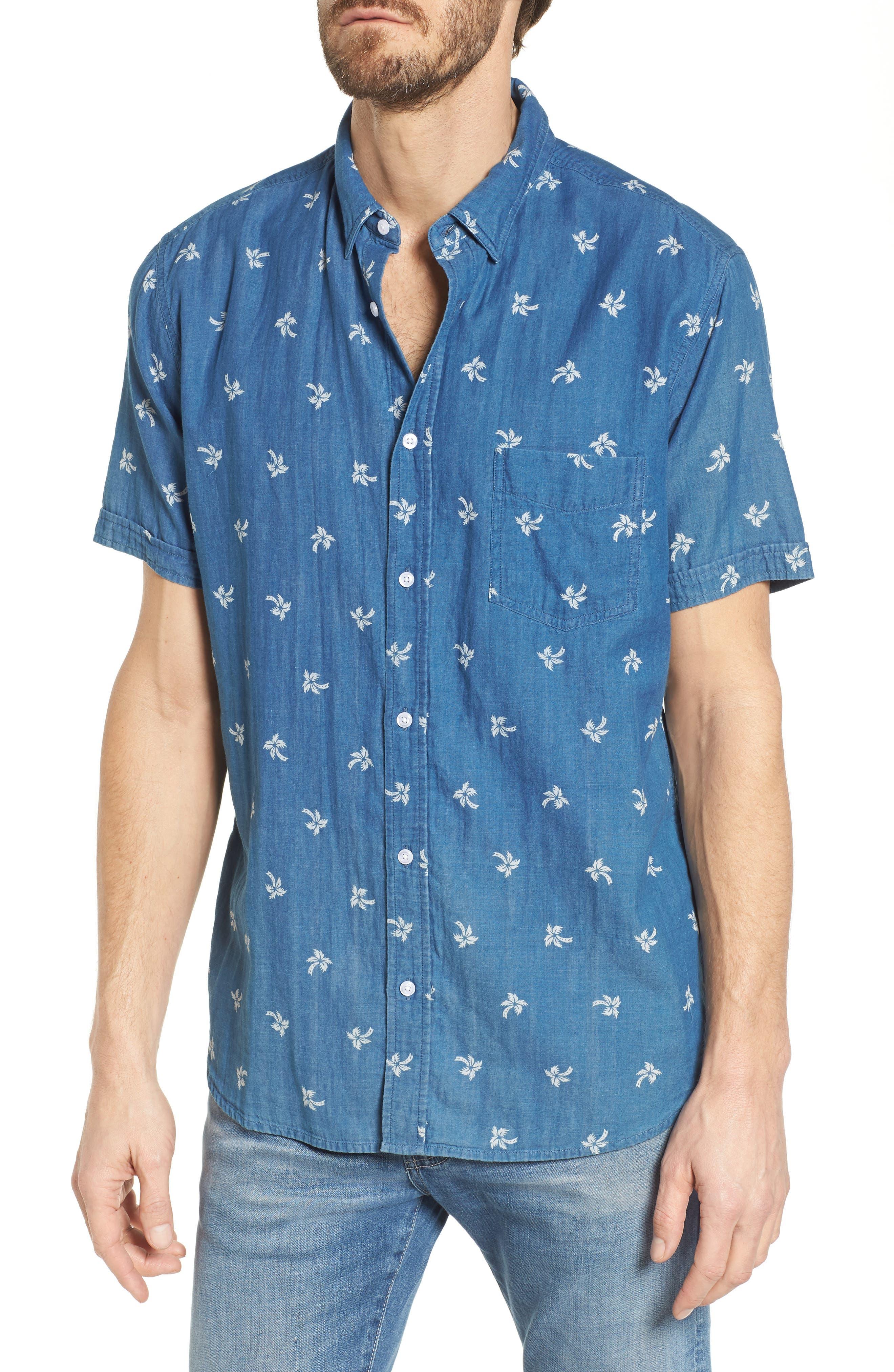 Carson Slim Fit Palm Print Sport Shirt,                             Main thumbnail 1, color,                             Indigo Tropic