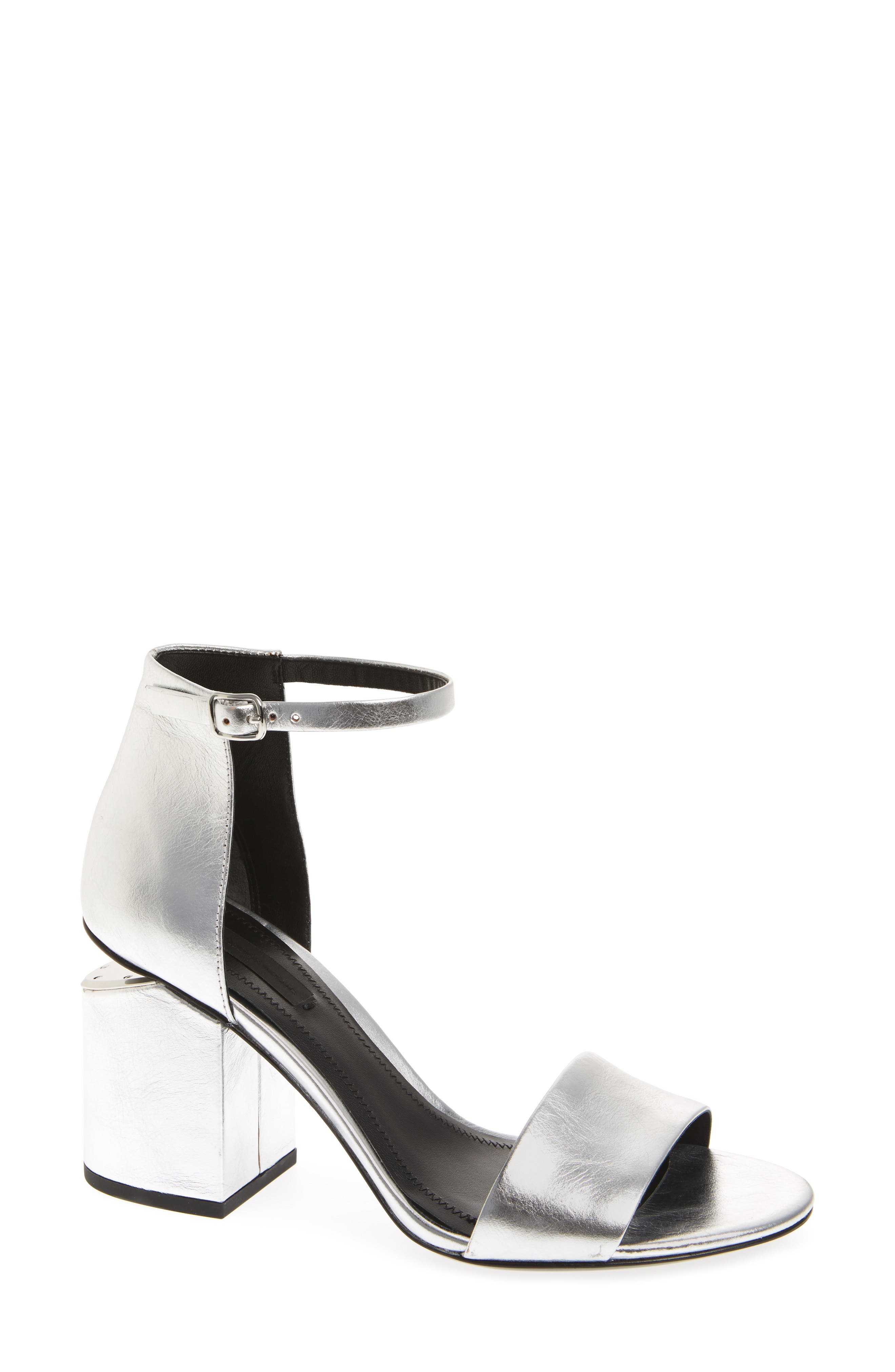 Abby Ankle Strap Sandal,                         Main,                         color, Silver