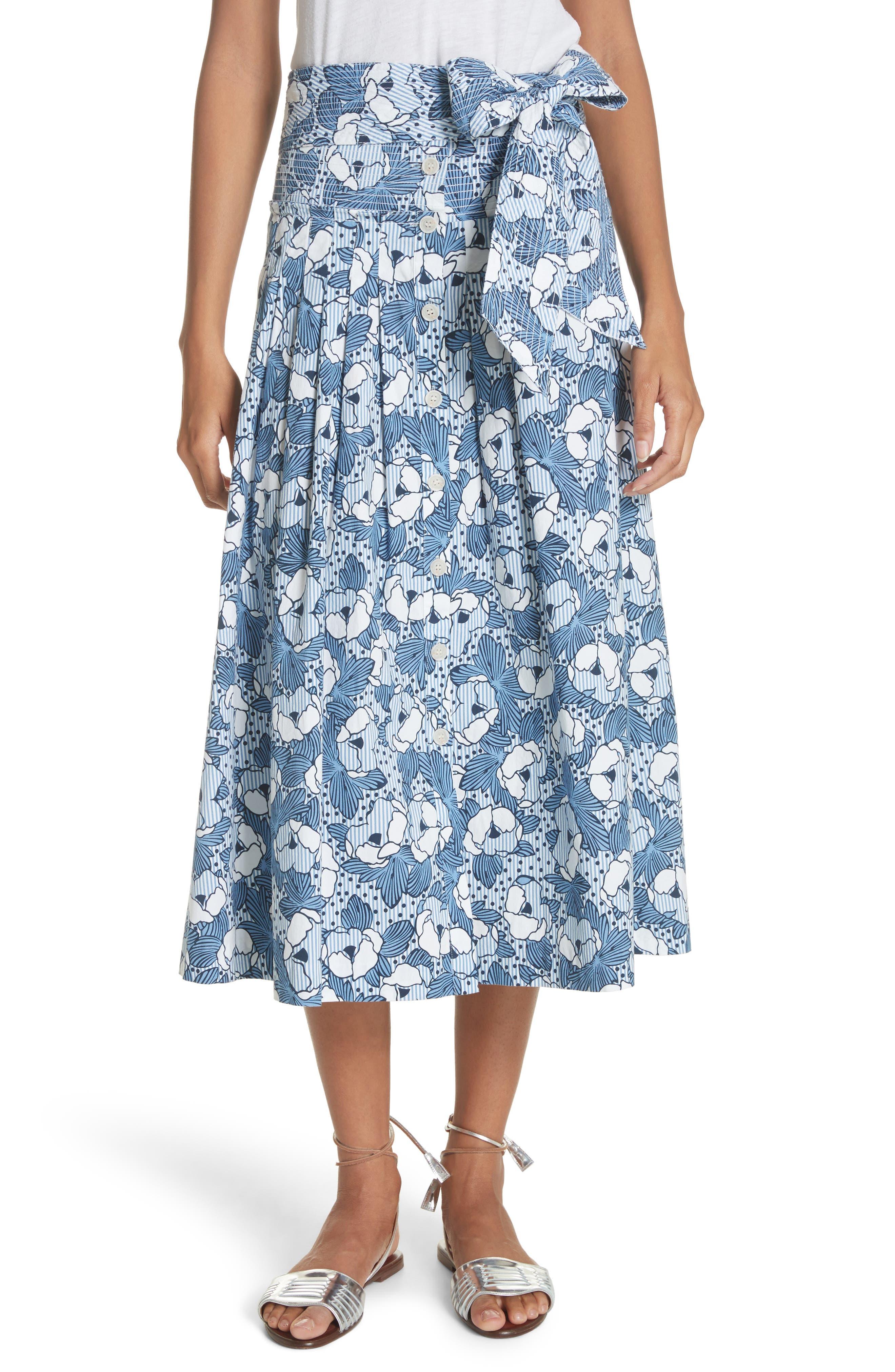 Caralina Floral Print Midi Skirt,                             Main thumbnail 1, color,                             Blue/ White