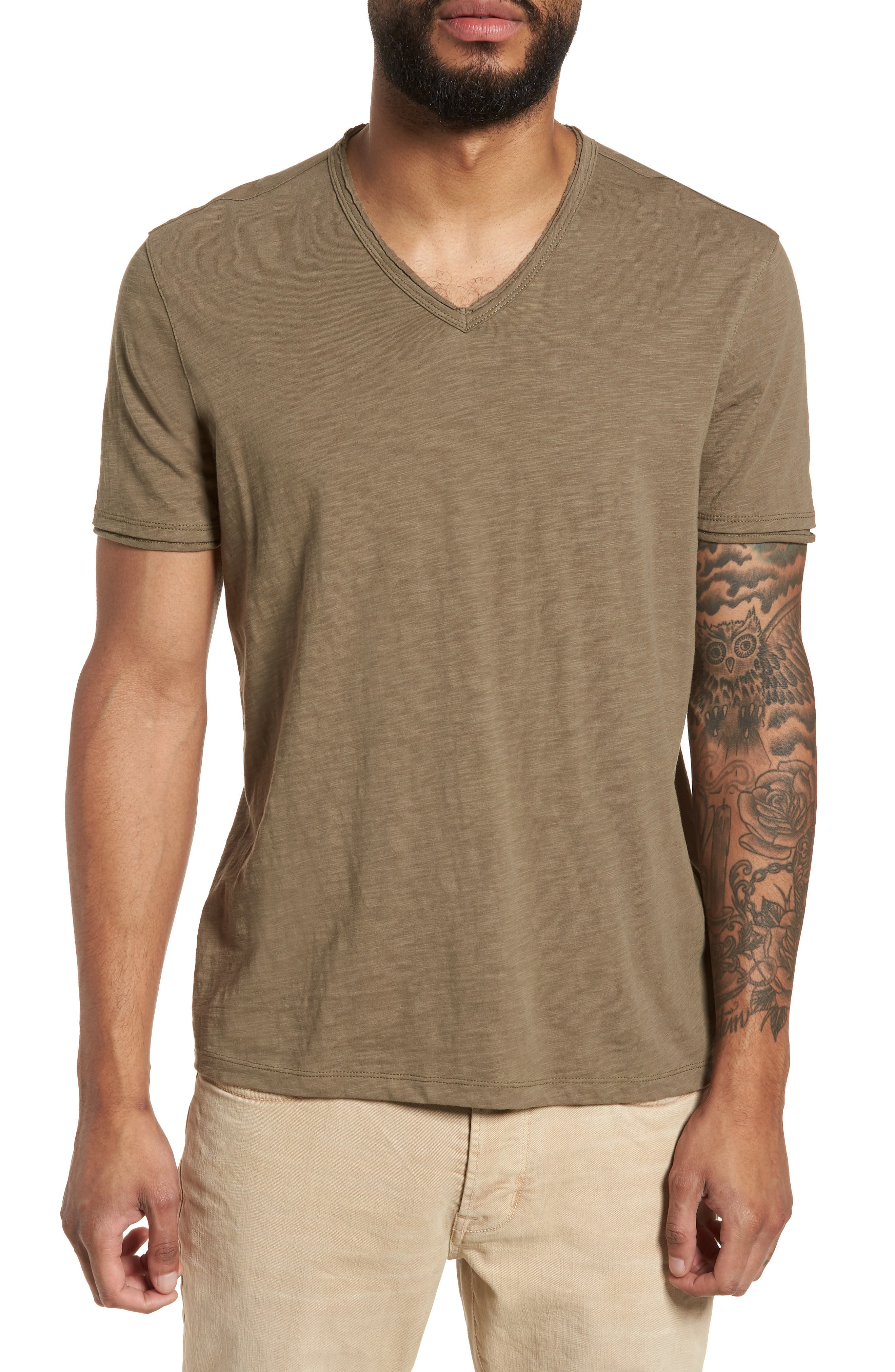 John Varvatos Star USA Slim Fit Slubbed V-Neck T-Shirt