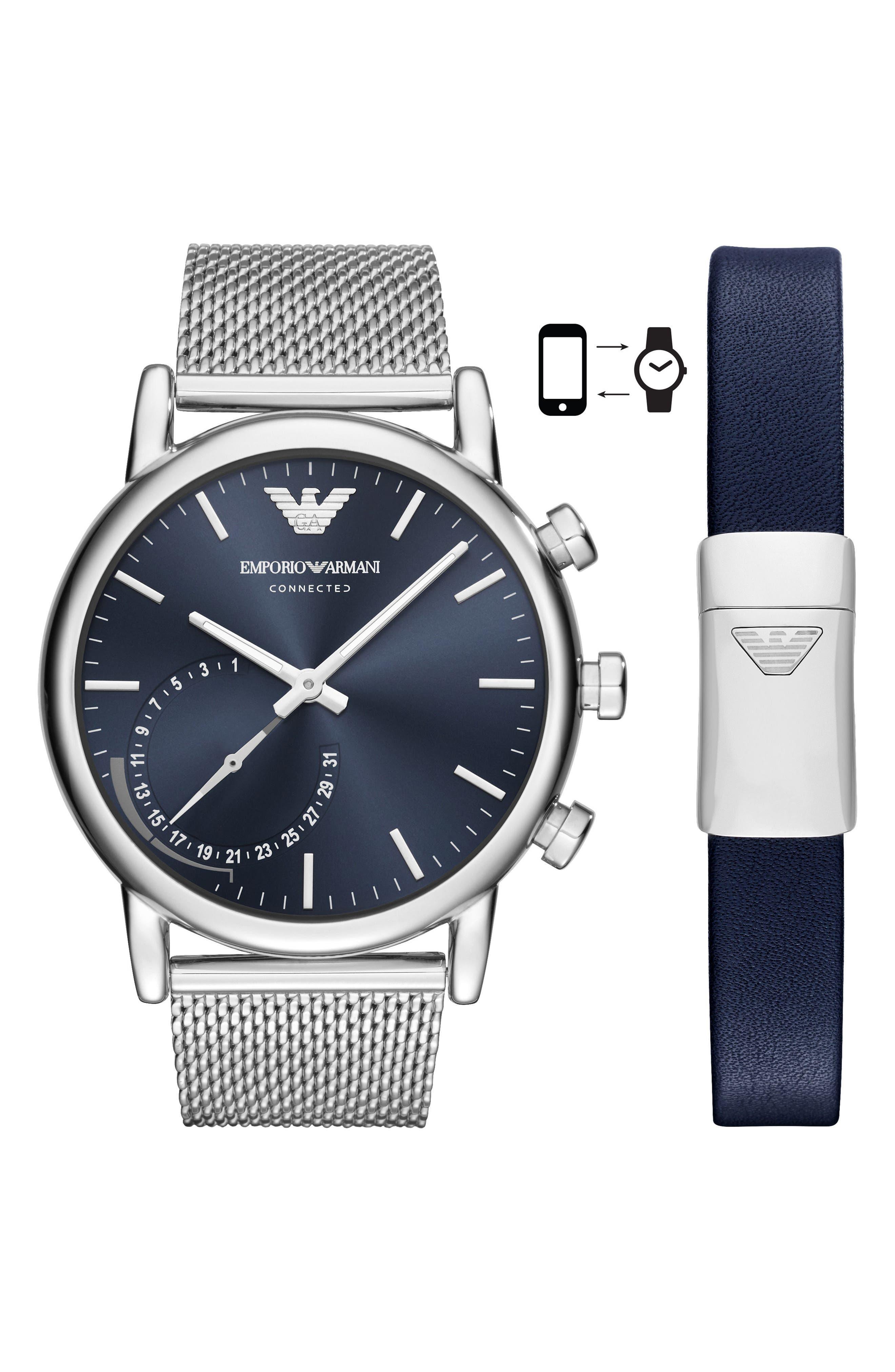 Emporio Armani Connected Hybrid Mesh Strap Smart Watch & Bracelet Set, 43mm