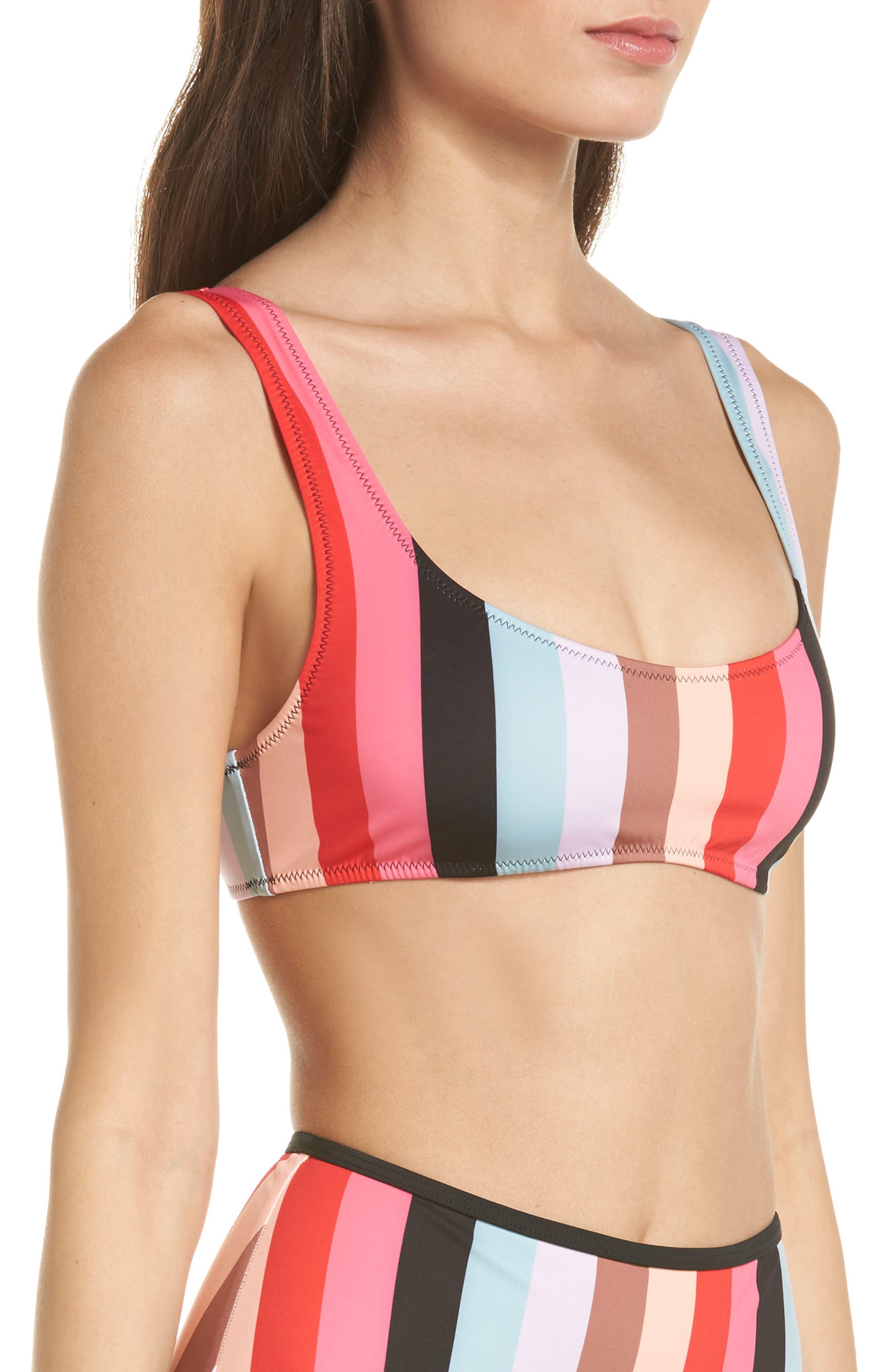The Elle Bikini Top,                             Alternate thumbnail 3, color,                             Red Multi