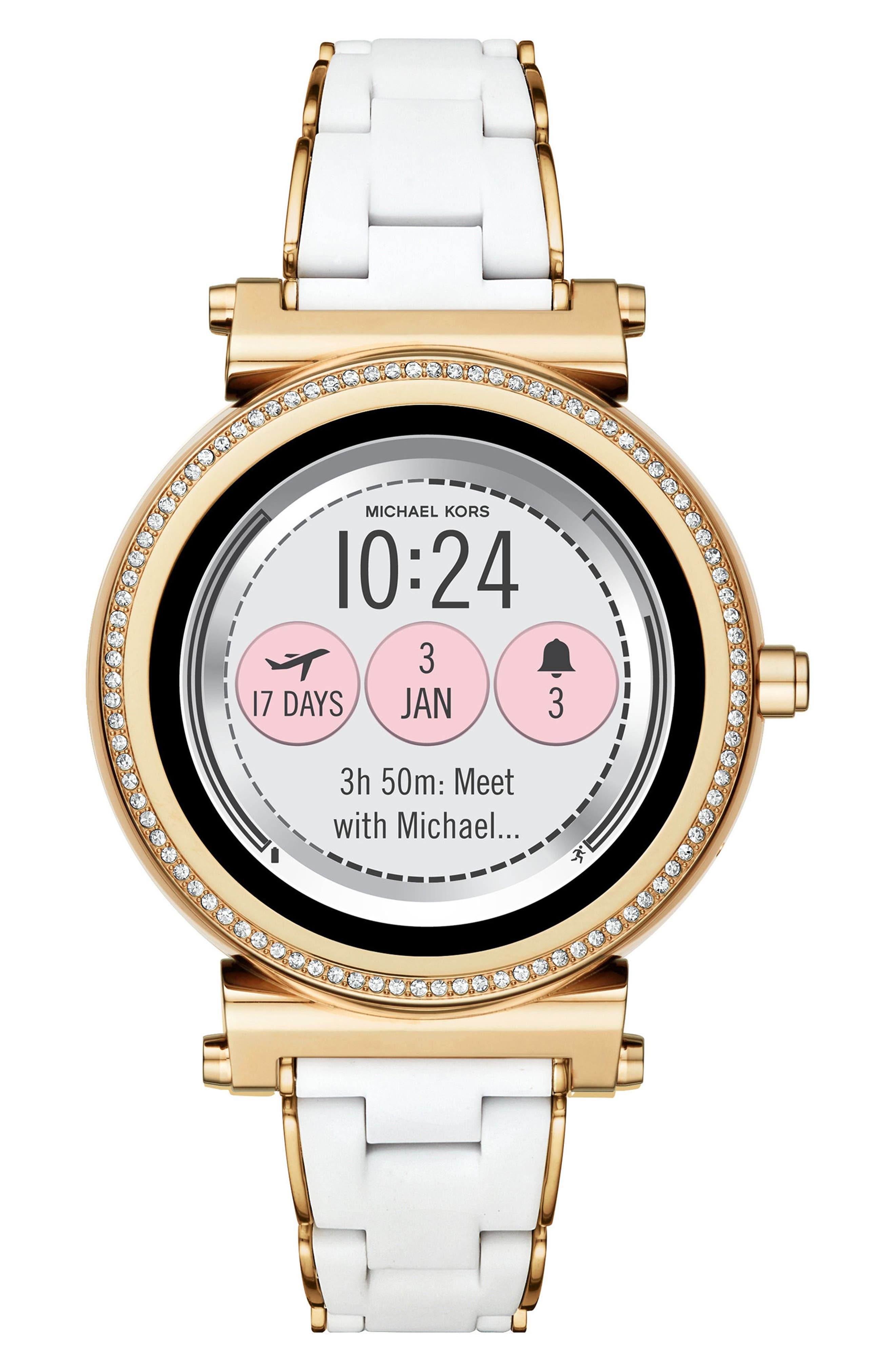 Michael Kors Access Sofie Touchscreen Silicone Bracelet Smart Watch, 42mm