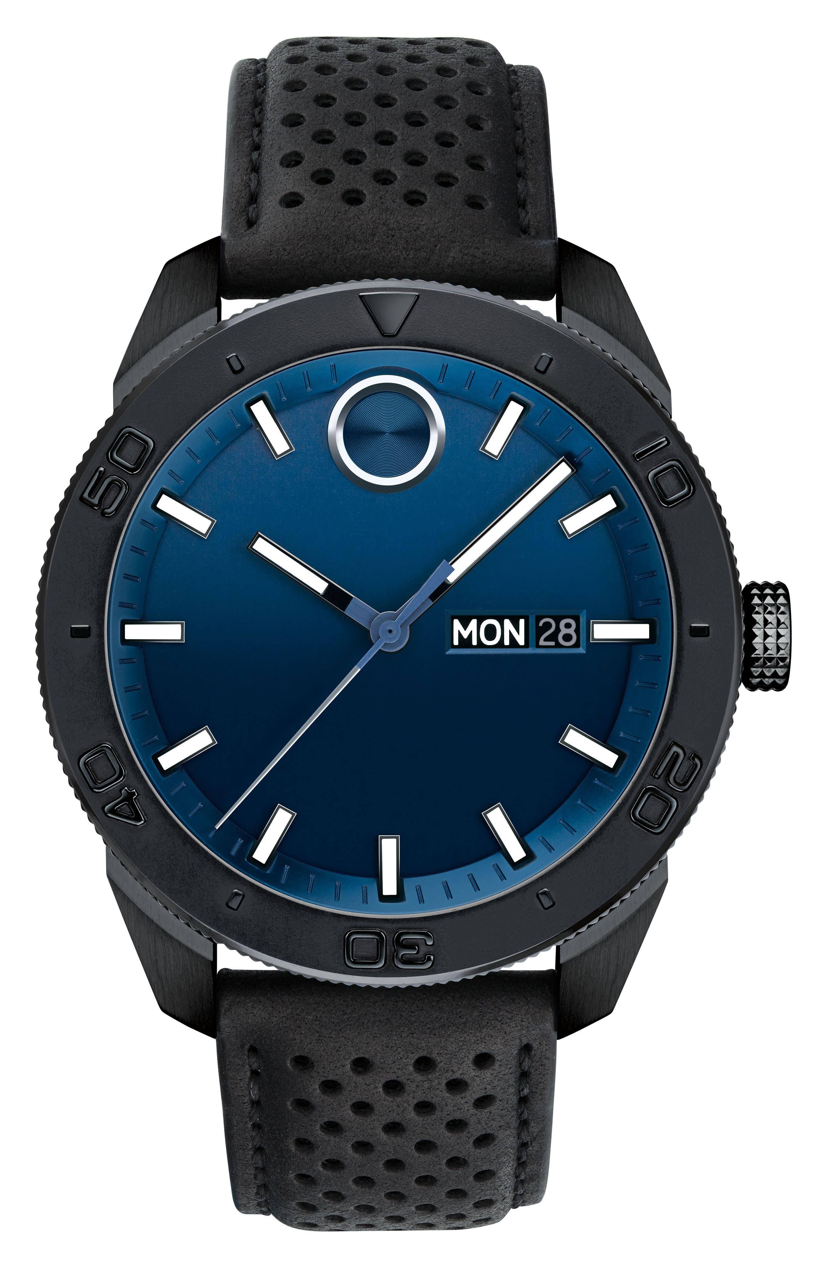 Bold Metals Sport Leather Strap Watch, 43mm,                         Main,                         color, Black/ Blue/ Black