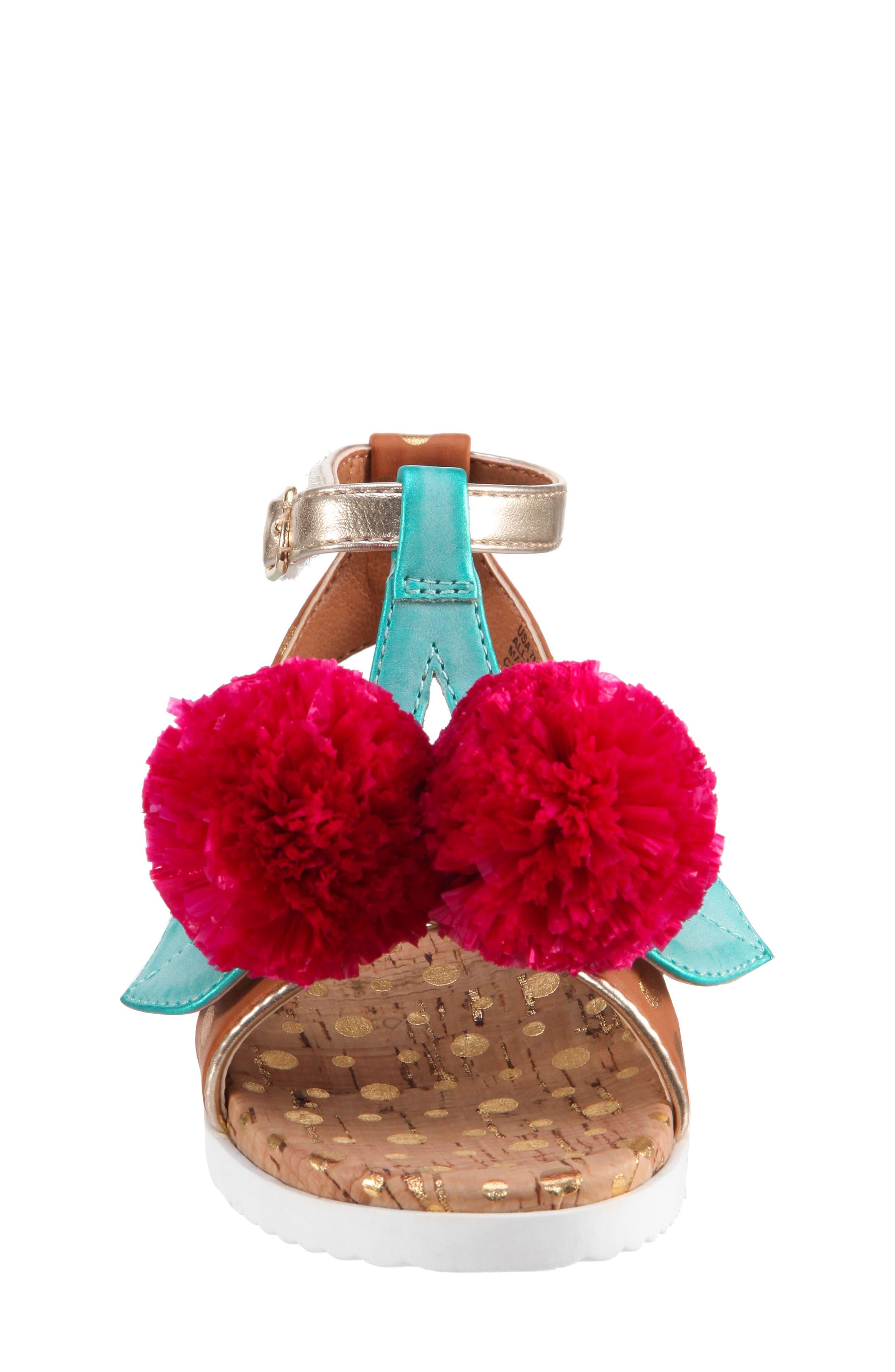 Kyeleigh Pom Flower Sandal,                             Alternate thumbnail 4, color,                             Light Tan Burnish