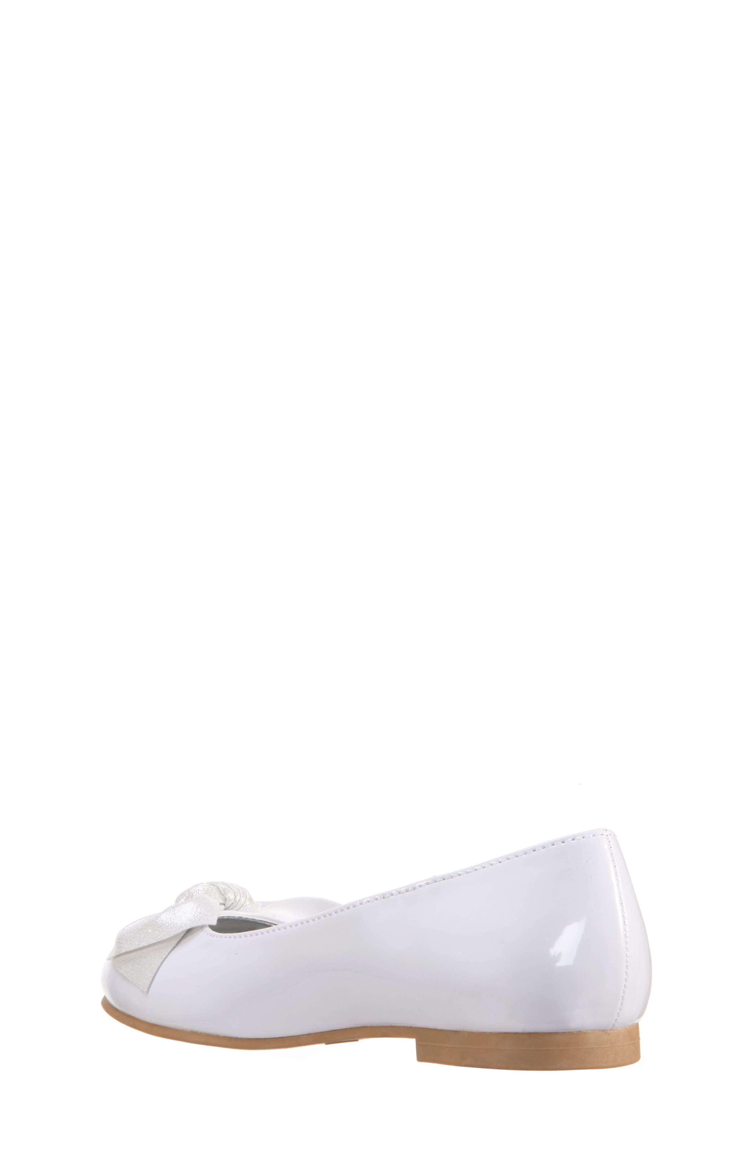 Katelyn Glitter Bow Metallic Ballet Flat,                             Alternate thumbnail 2, color,                             White Patent