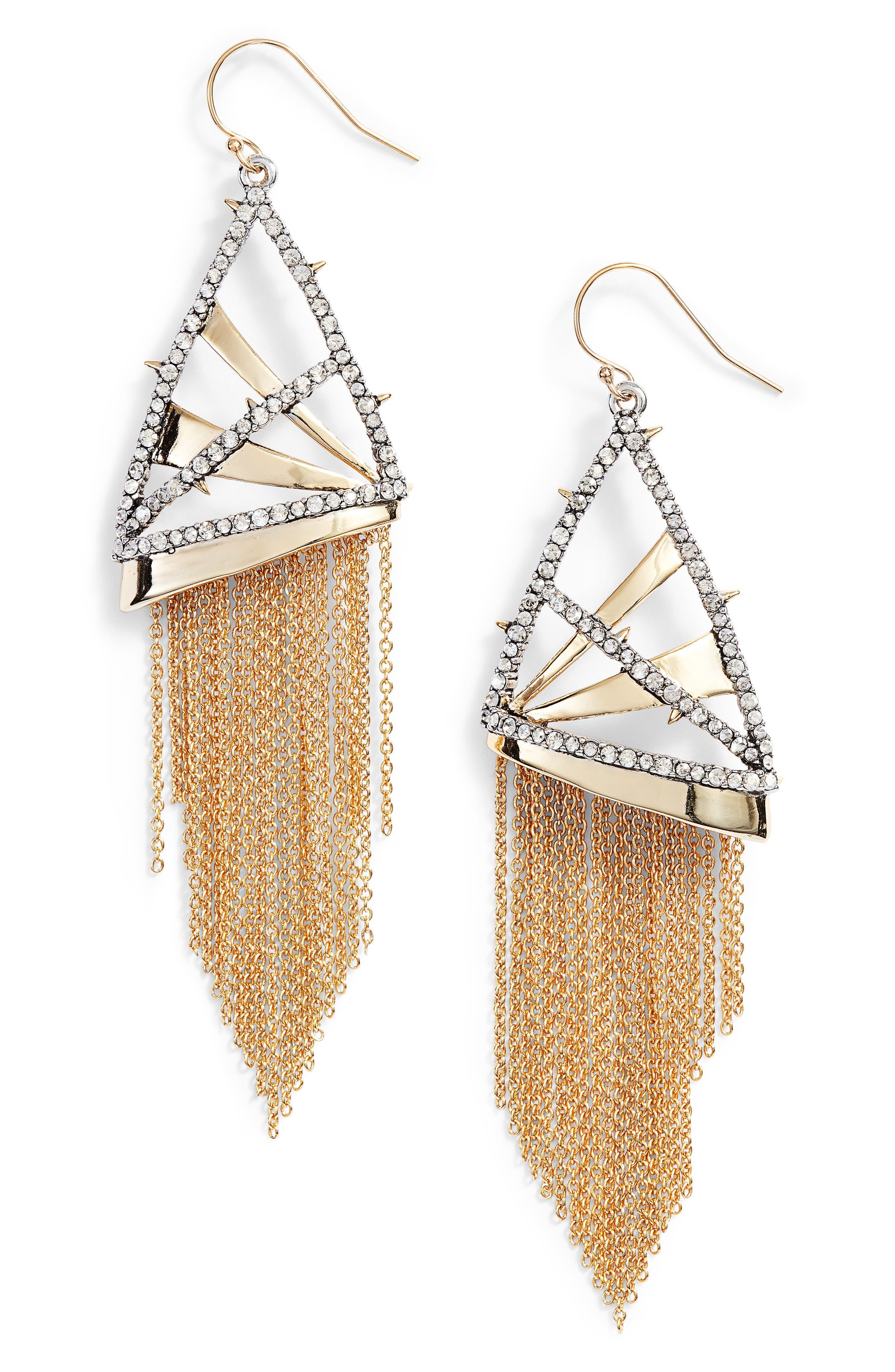 Chain Fringe Earrings,                             Main thumbnail 1, color,                             Gold