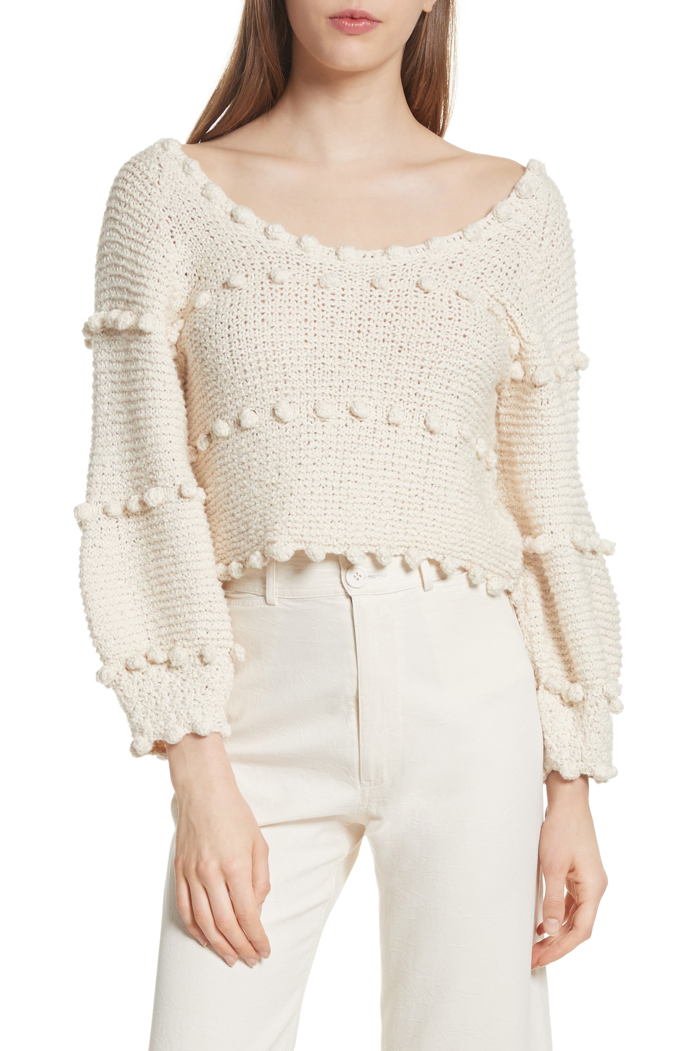 Hyacinth Pompom Stripe Sweater,                             Main thumbnail 1, color,                             Natural