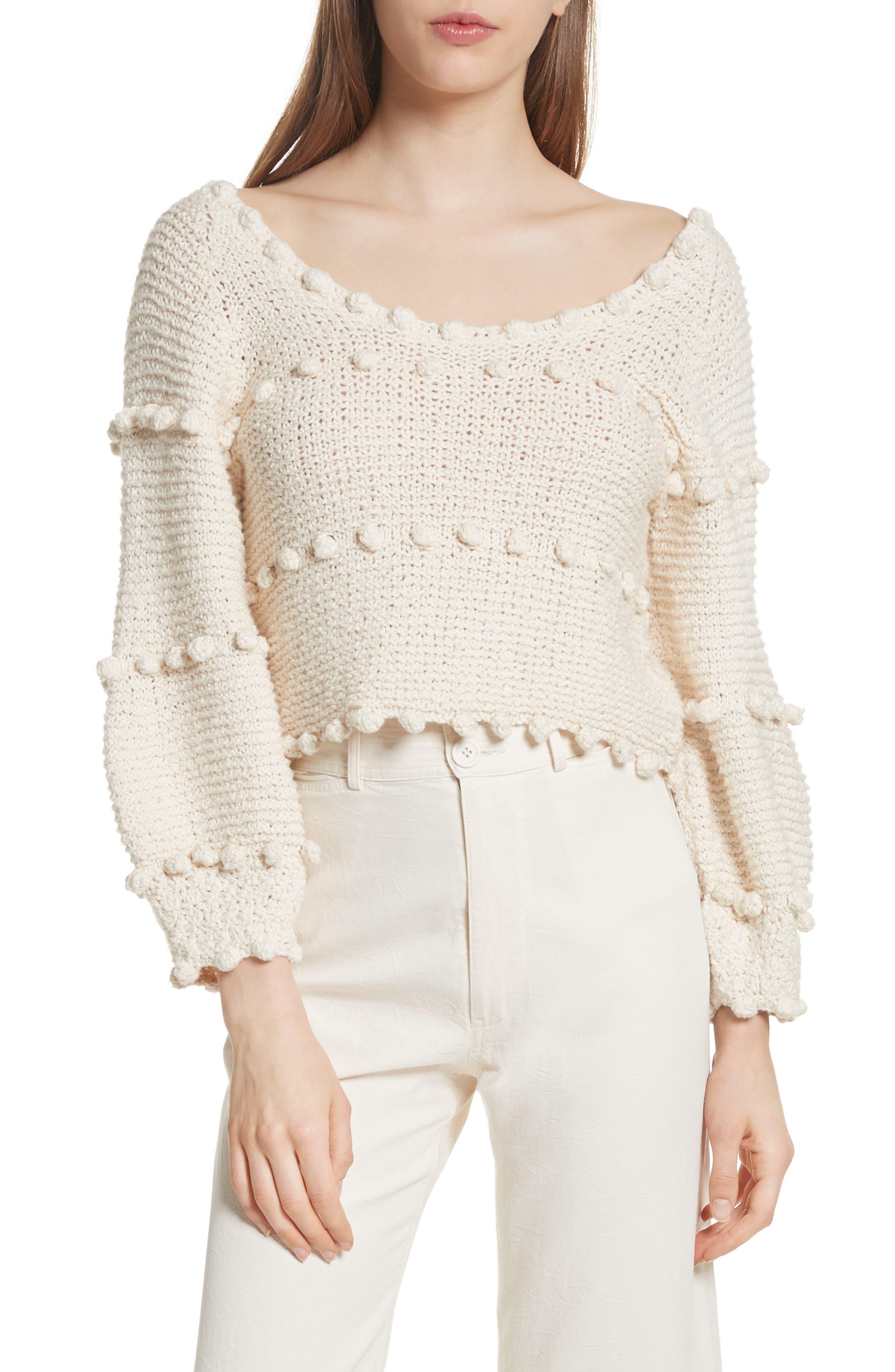 Hyacinth Pompom Stripe Sweater,                         Main,                         color, Natural