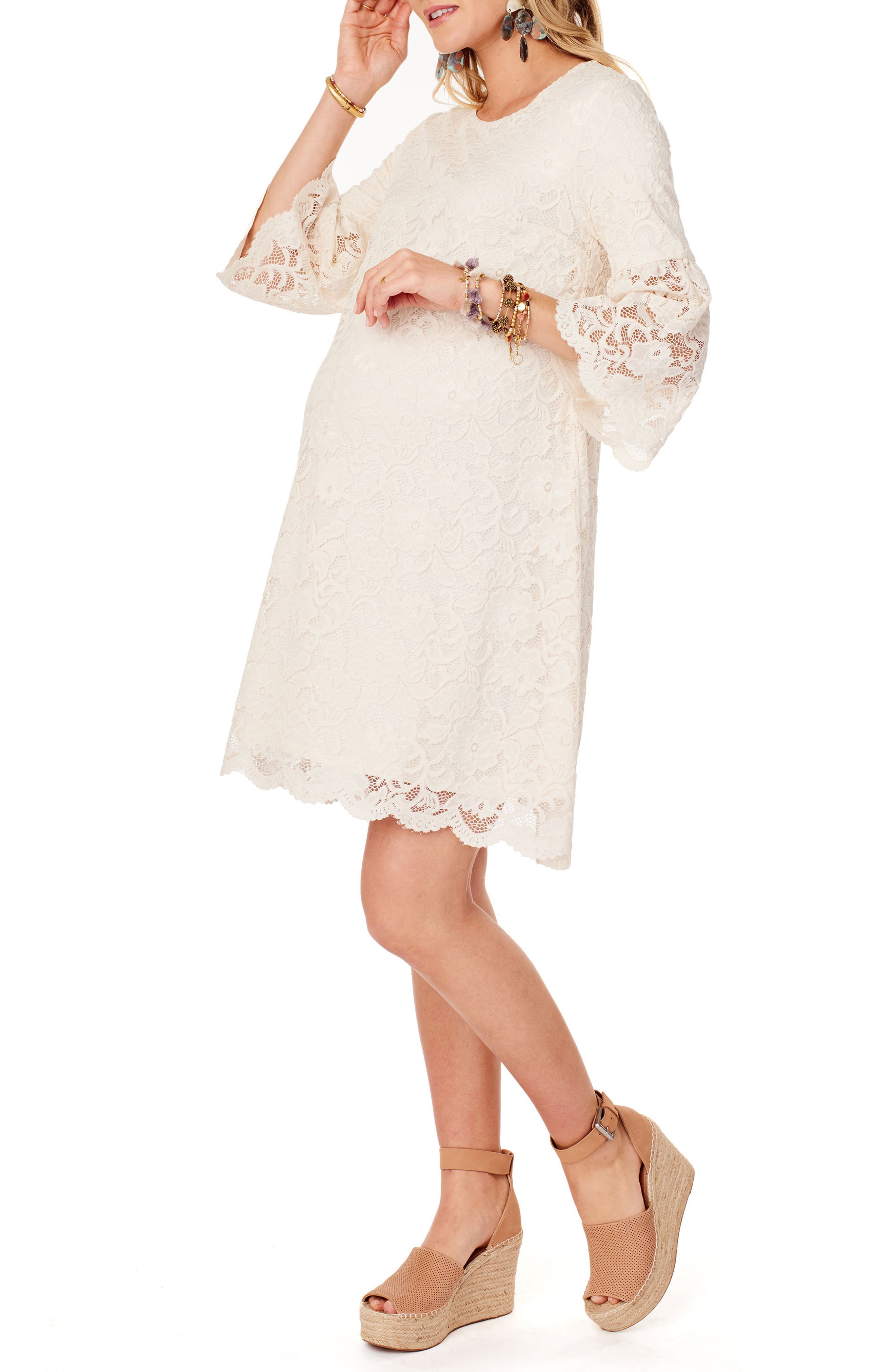 Lace Bell Sleeve Maternity Dress,                             Alternate thumbnail 3, color,                             Ivory