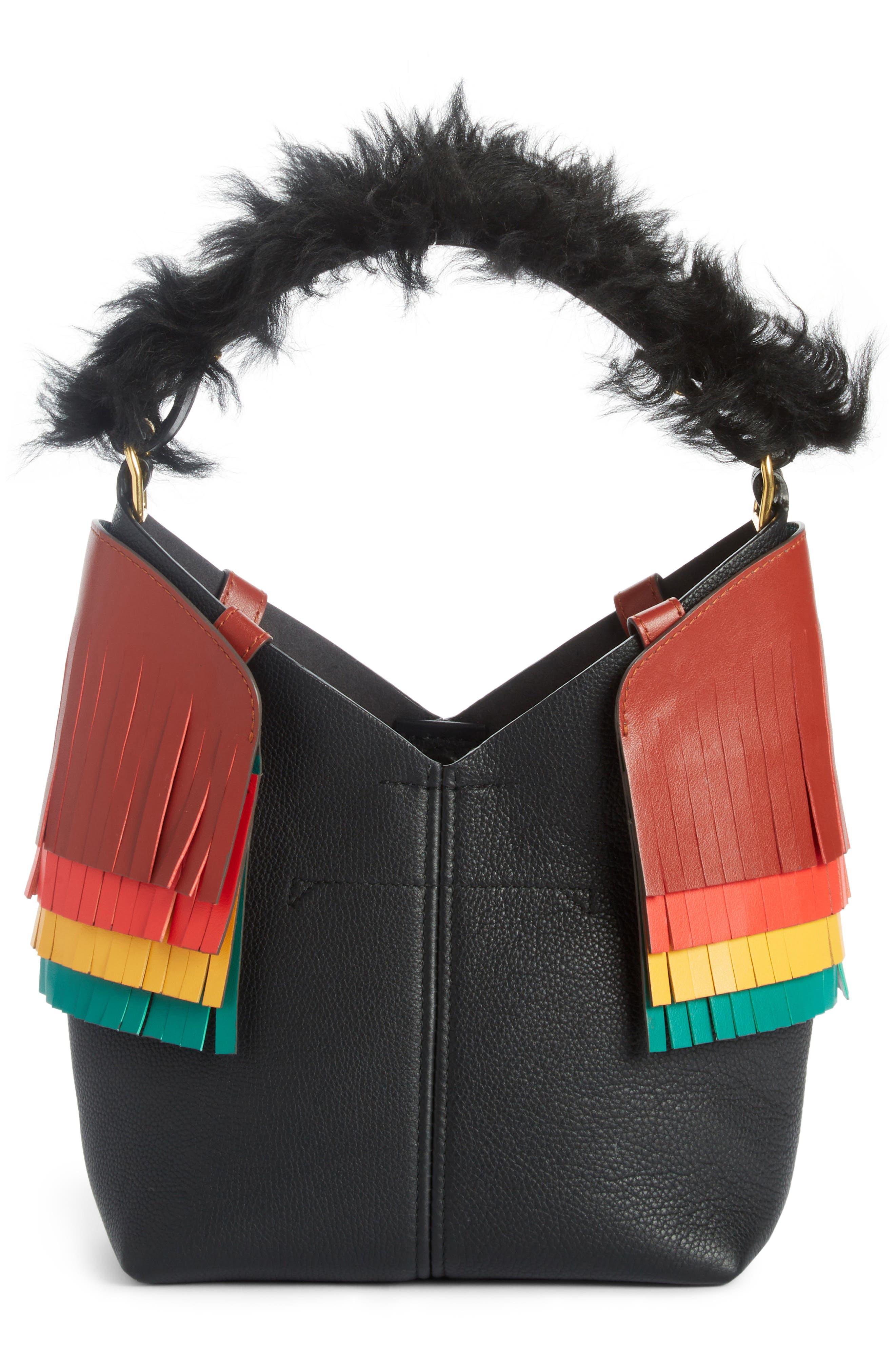 Build a Bag Mini Creature Leather Shoulder Bag with Genuine Shearling,                             Alternate thumbnail 2, color,                             Black