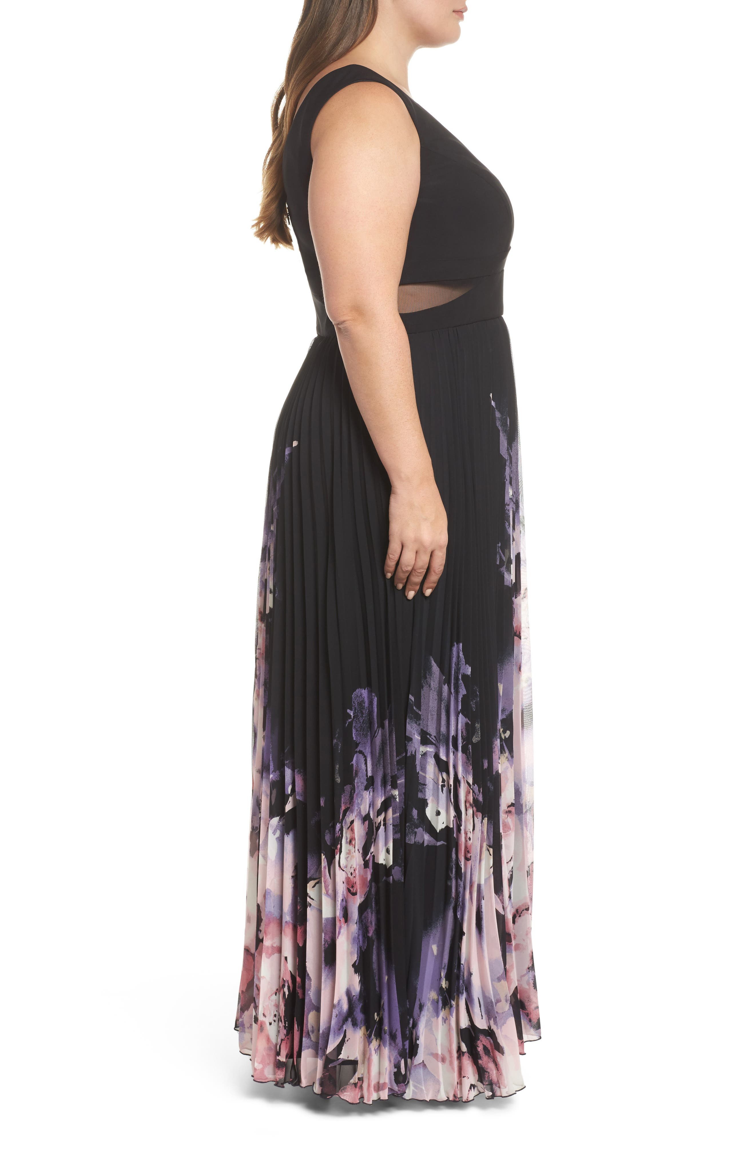 Pleated Chiffon Gown,                             Alternate thumbnail 3, color,                             Black/ Multi