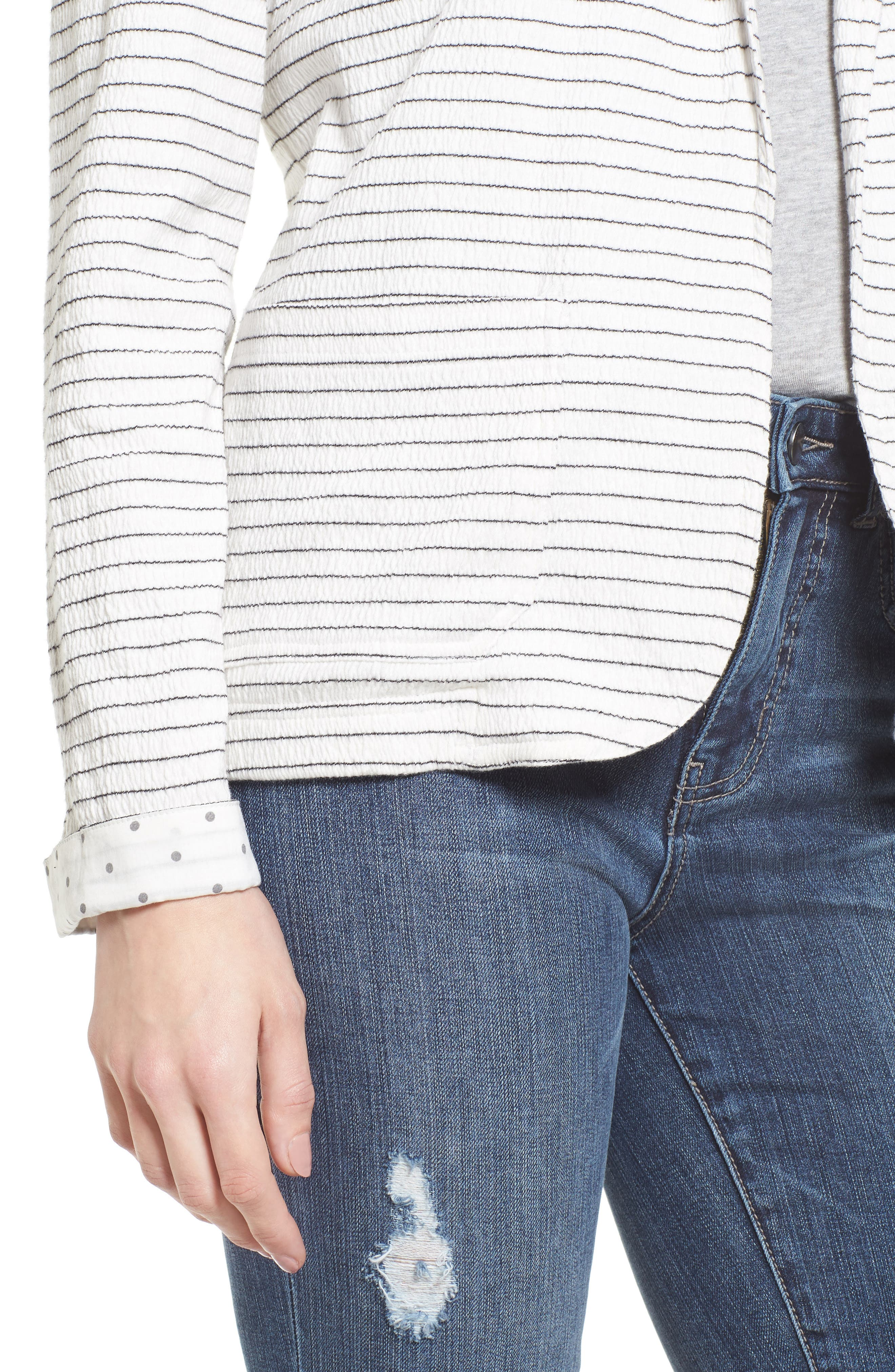 Crinkle Stretch Cotton Lined Blazer,                             Alternate thumbnail 4, color,                             Ivory- Black Stripe