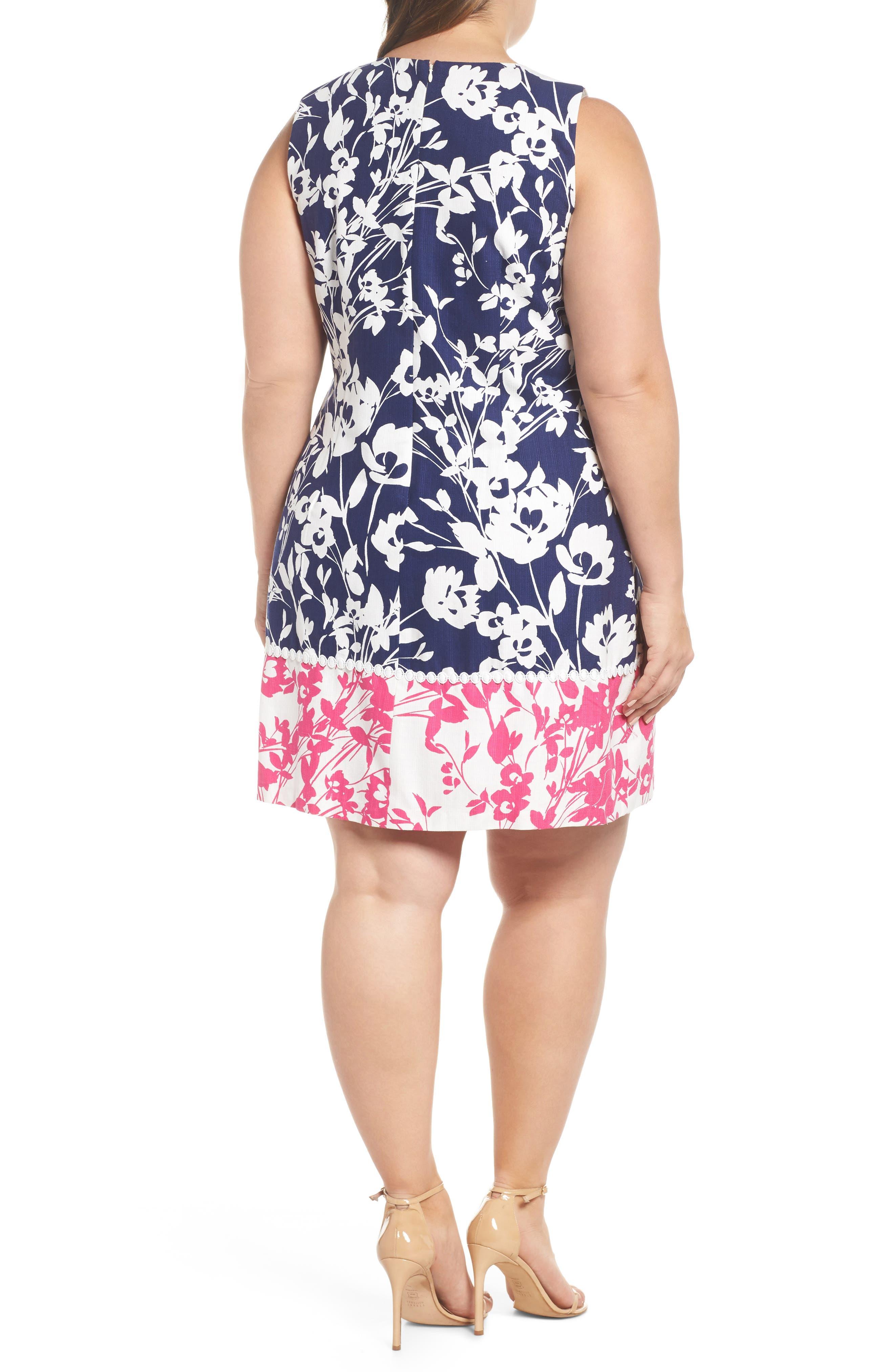 Lace Trim Two Tone Print Shift Dress,                             Alternate thumbnail 2, color,                             Navy/ Pink