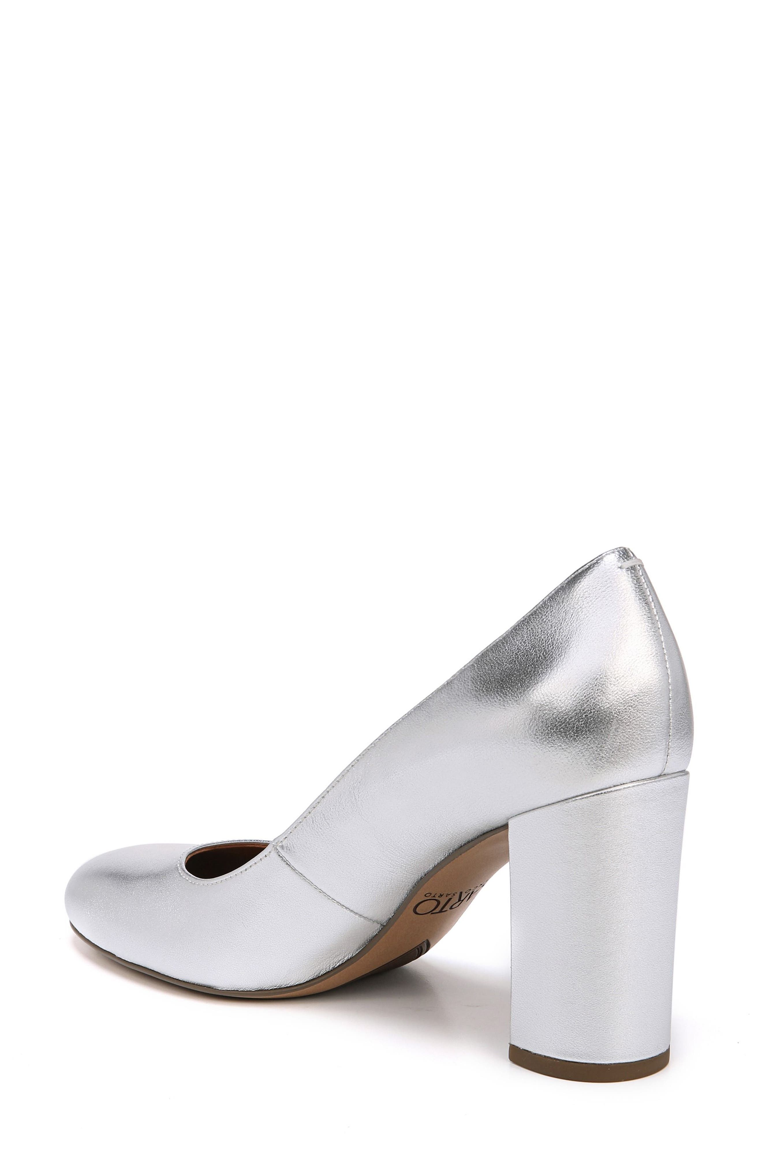 Aziza Block Heel Pump,                             Alternate thumbnail 2, color,                             Silver Leather