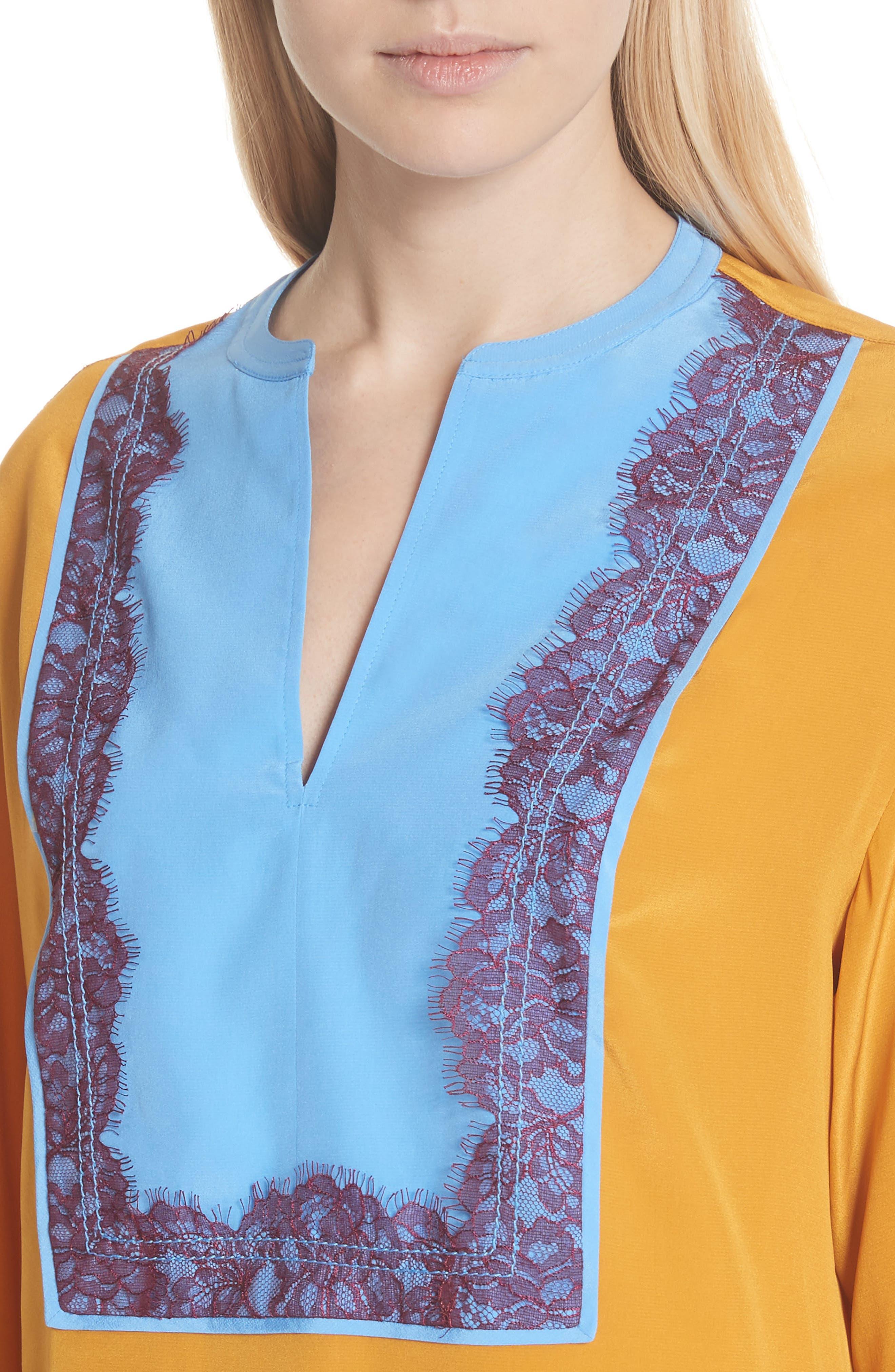 Colorblock Silk Tunic,                             Alternate thumbnail 4, color,                             Golden Age
