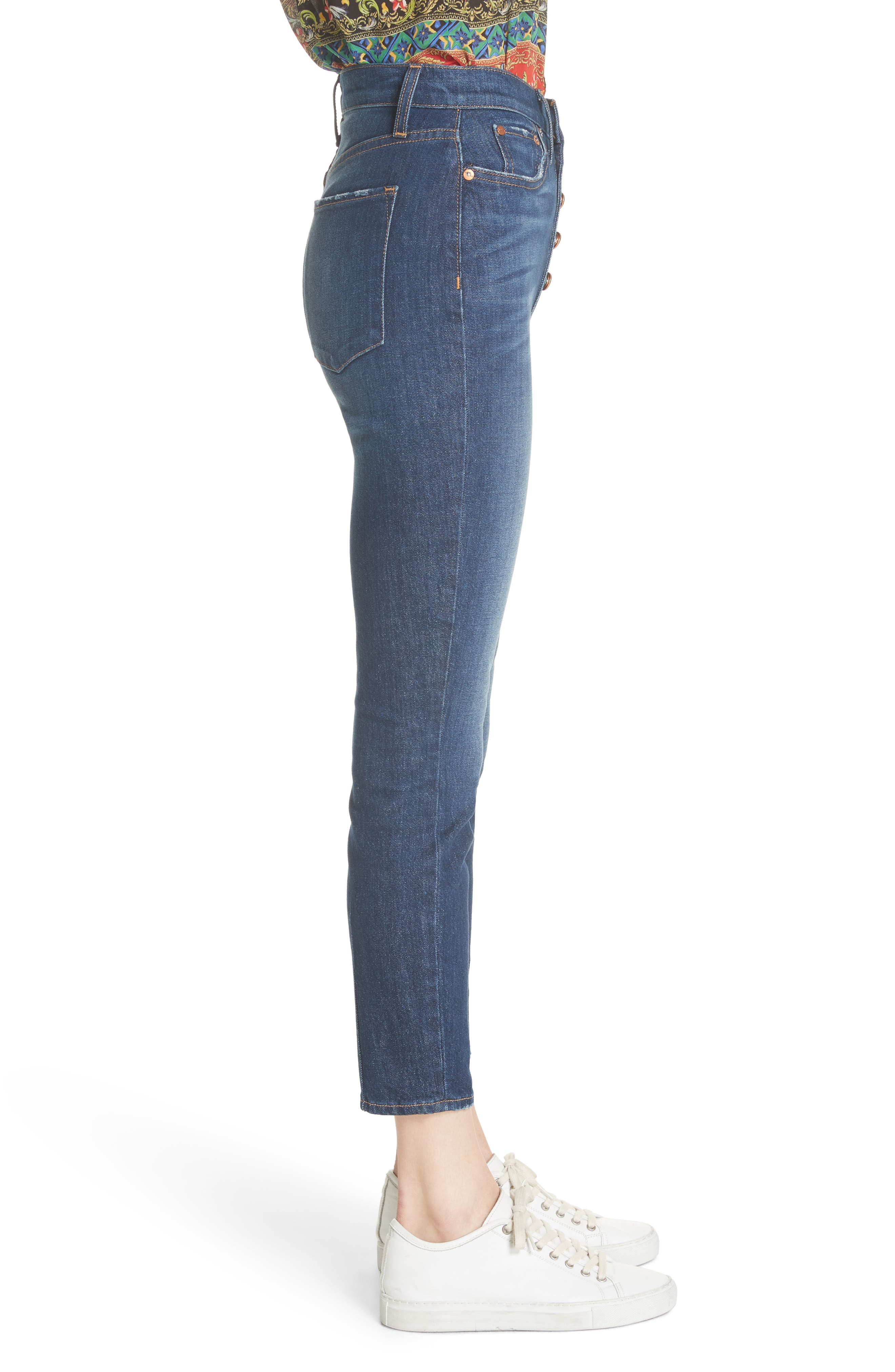 AO.LA Good High Waist Exposed Button Skinny Jeans,                             Alternate thumbnail 3, color,                             Good Times