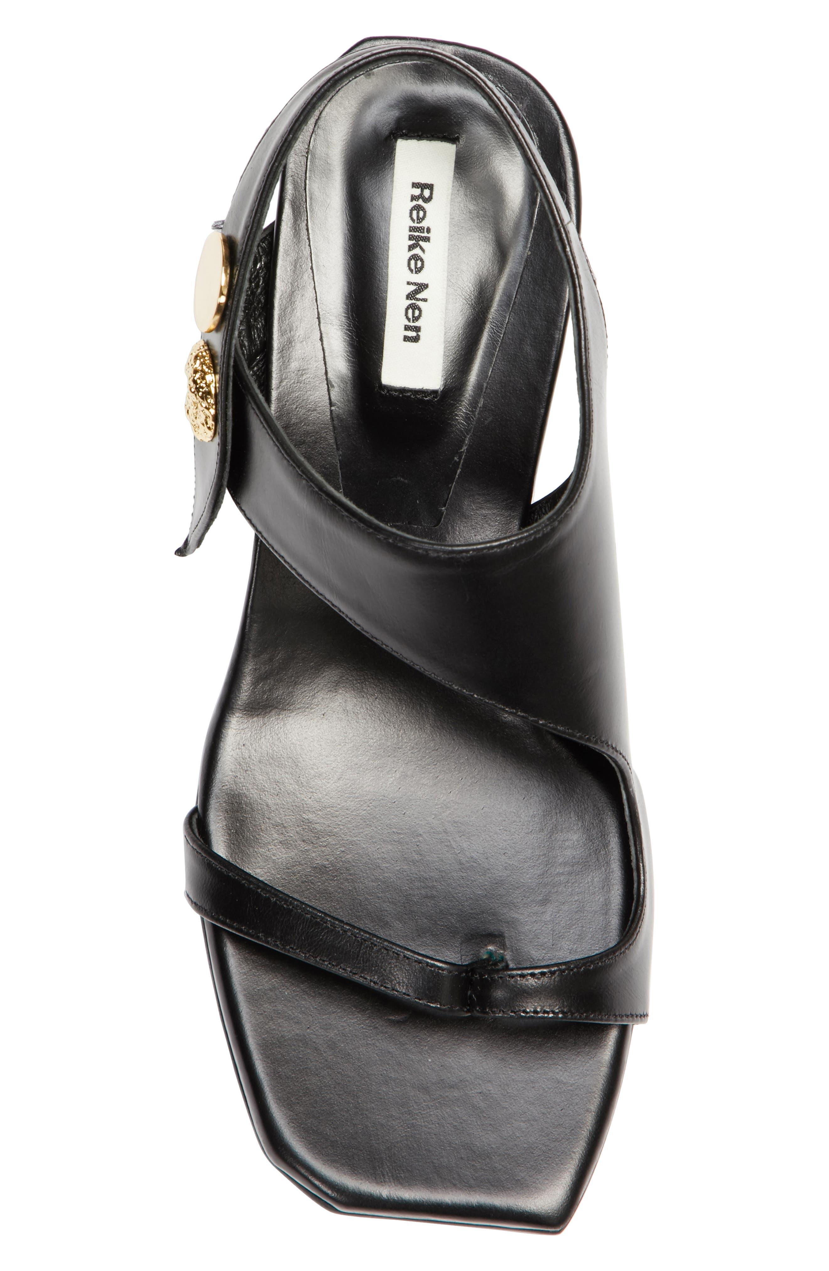 Embellished Leather Sandal,                             Alternate thumbnail 6, color,                             Black