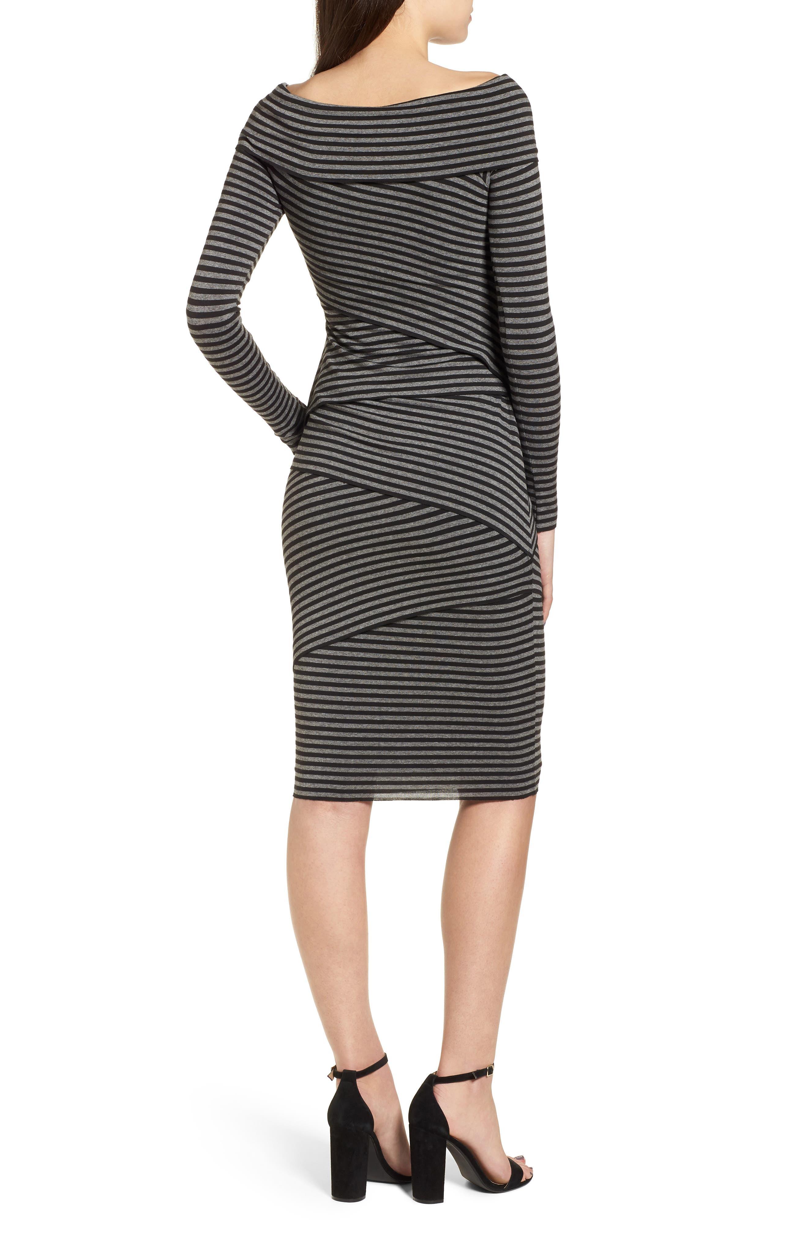 Edamame Body-Con Dress,                             Alternate thumbnail 2, color,                             Black Grey