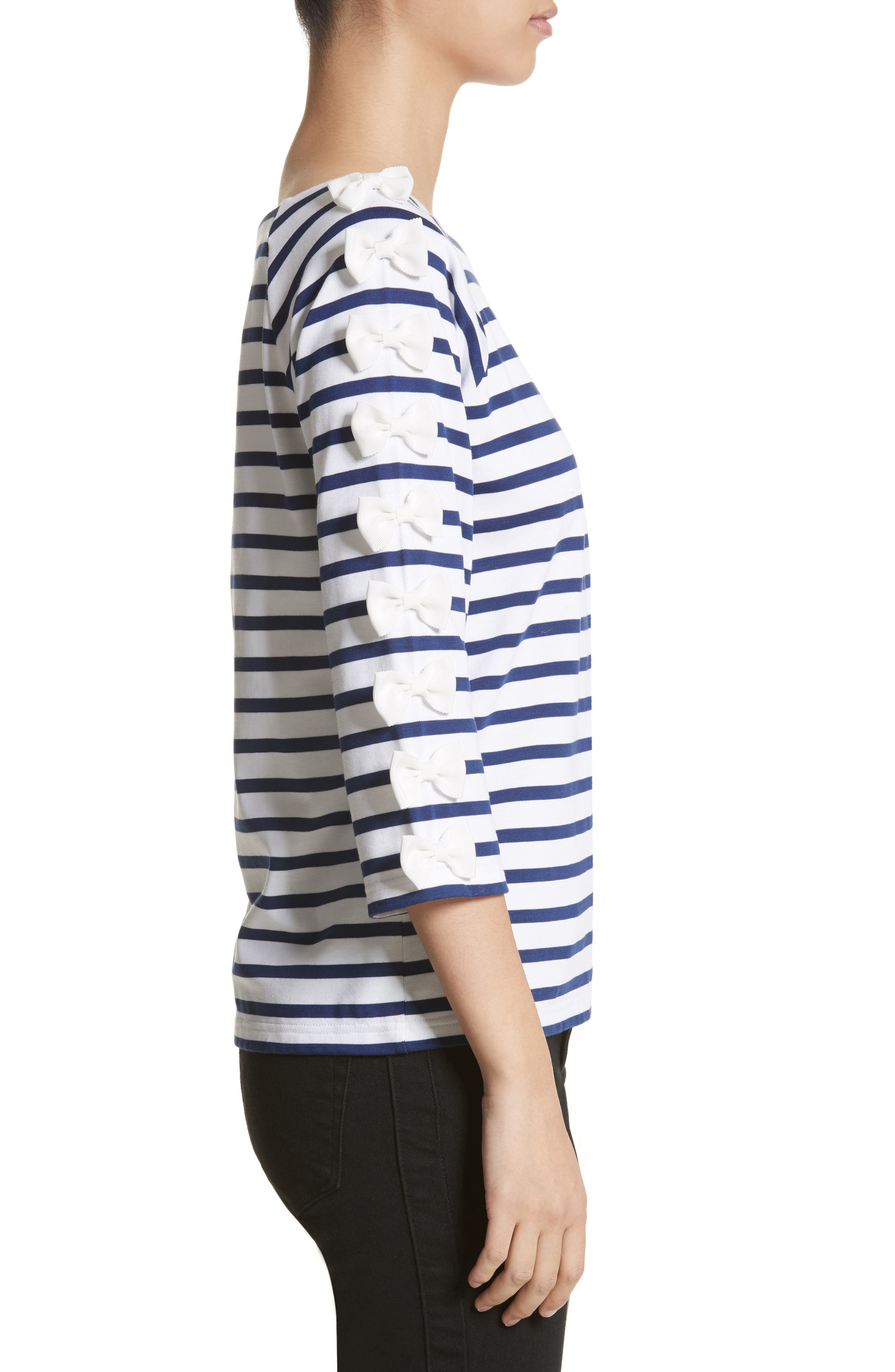 Bow Sleeve Stripe Tee,                             Alternate thumbnail 3, color,                             Blue