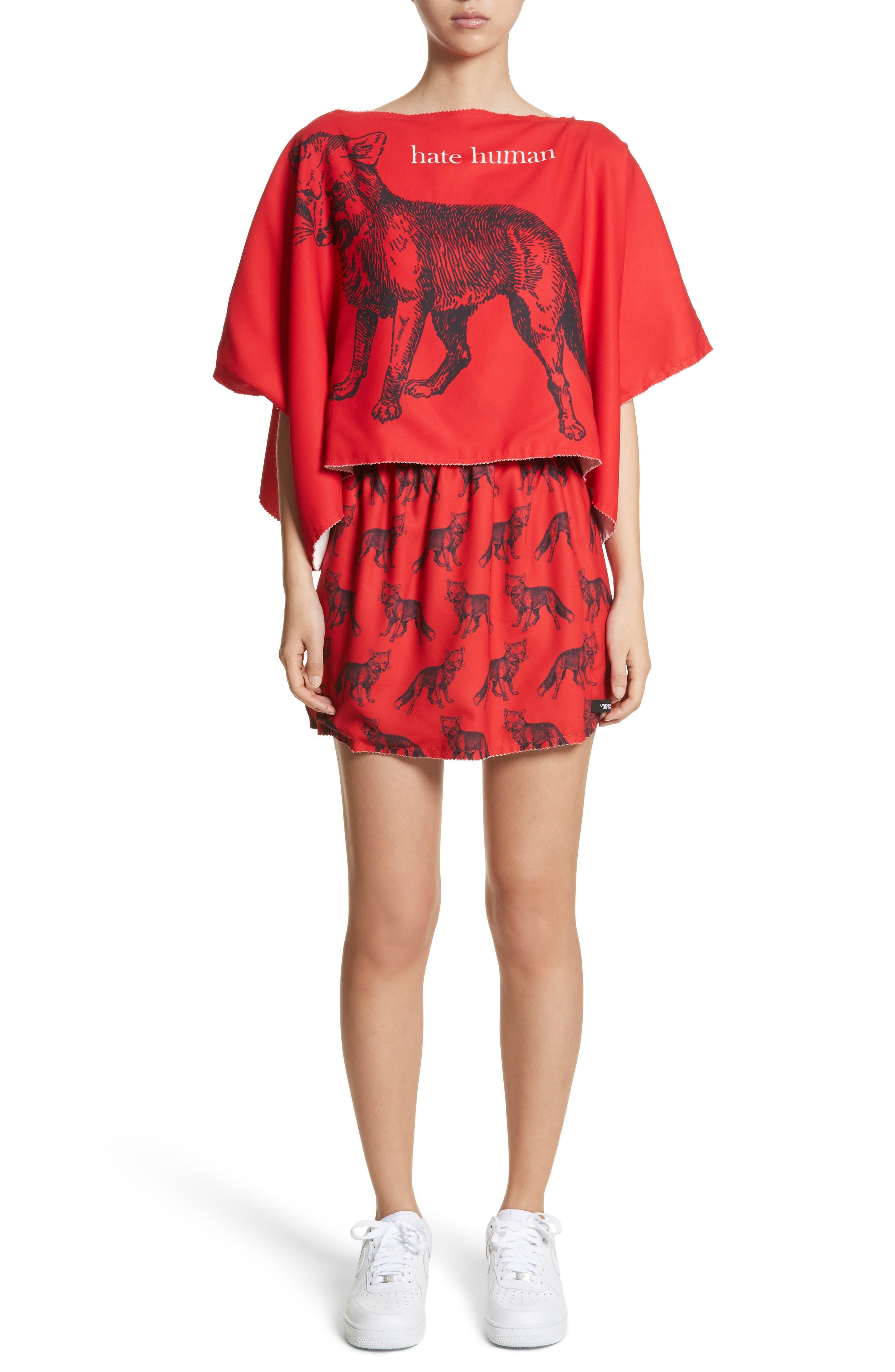 Fox/Girl Reversible Skirt,                             Alternate thumbnail 7, color,                             Ivory/ Red
