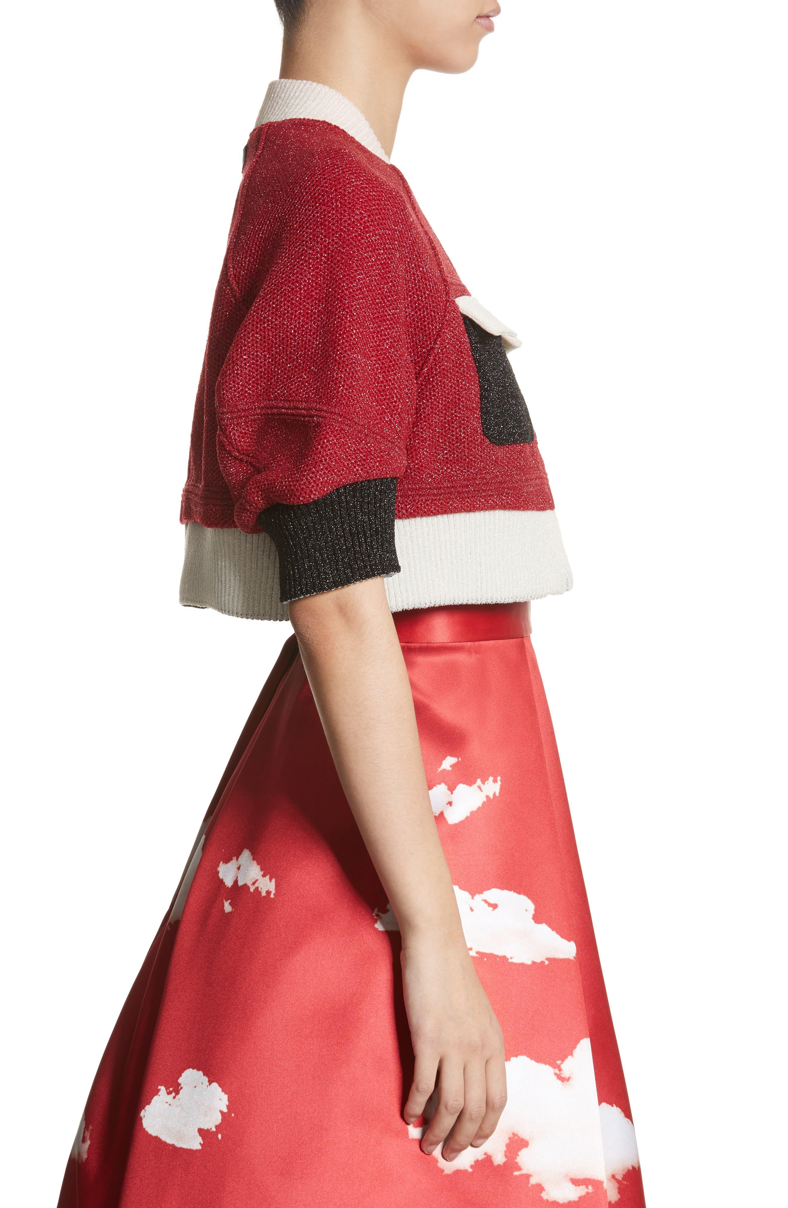 Reversible Crop Jacket,                             Alternate thumbnail 4, color,                             Brown/ Red