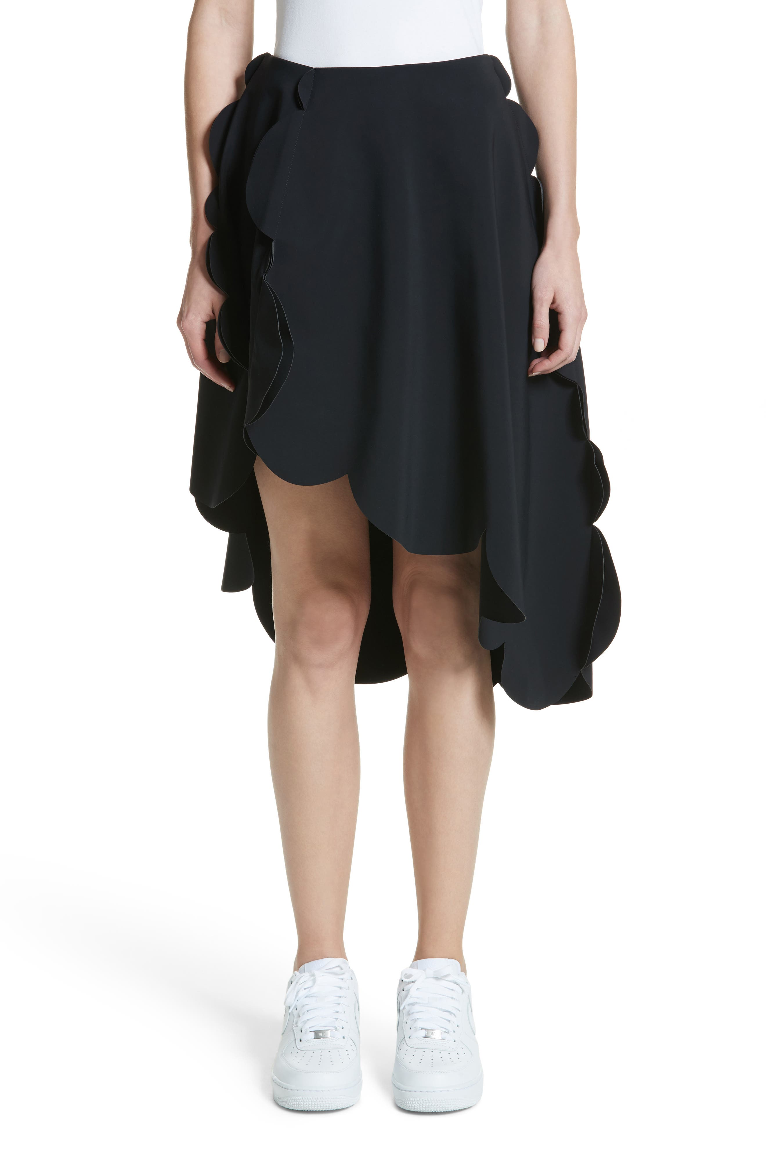 Scallop Asymmetrical Skirt,                             Main thumbnail 1, color,                             Black