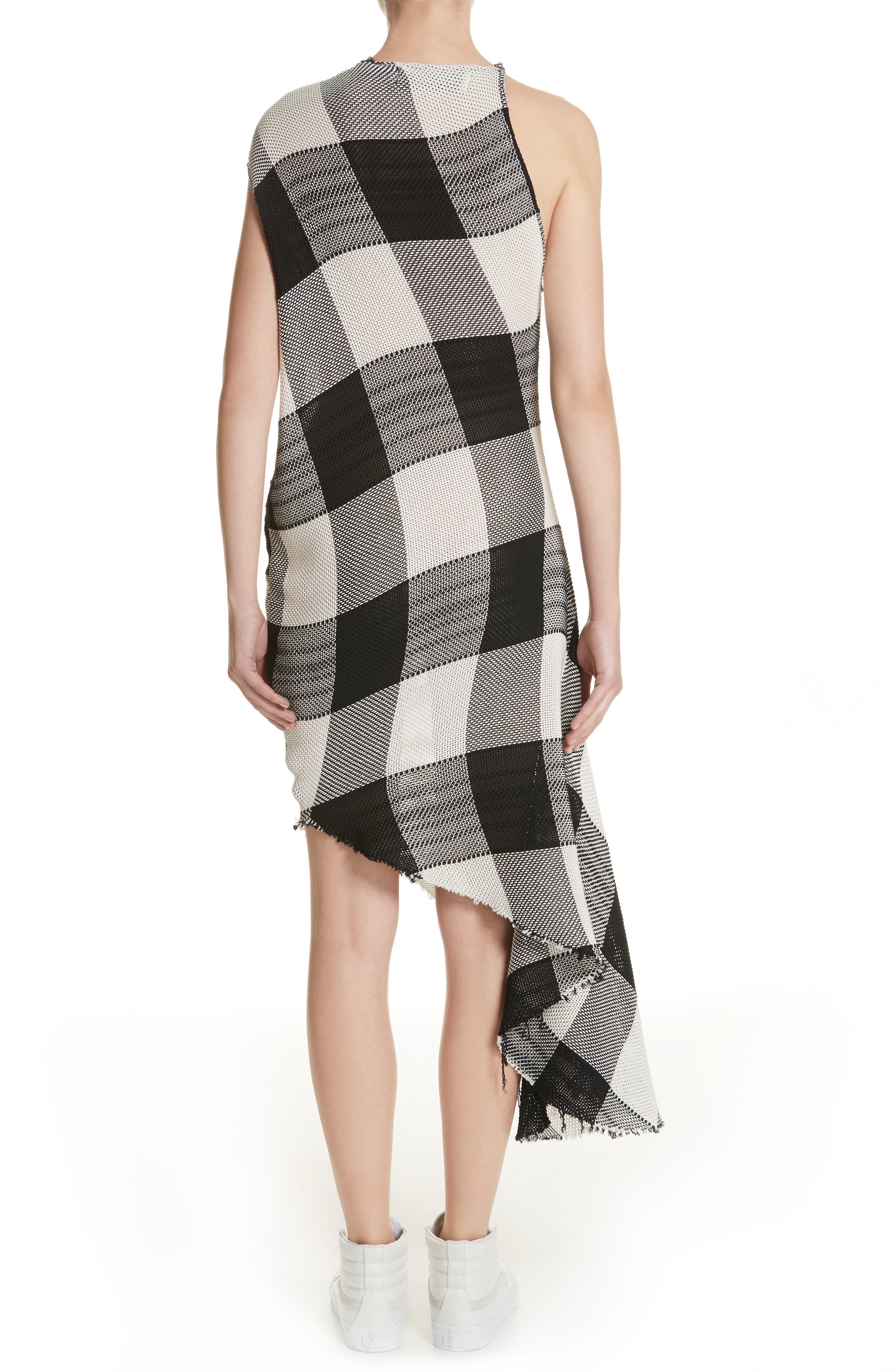 Marques'Almeida Asymmetrical Gingham Sheath Dress,                             Alternate thumbnail 2, color,                             Black/White