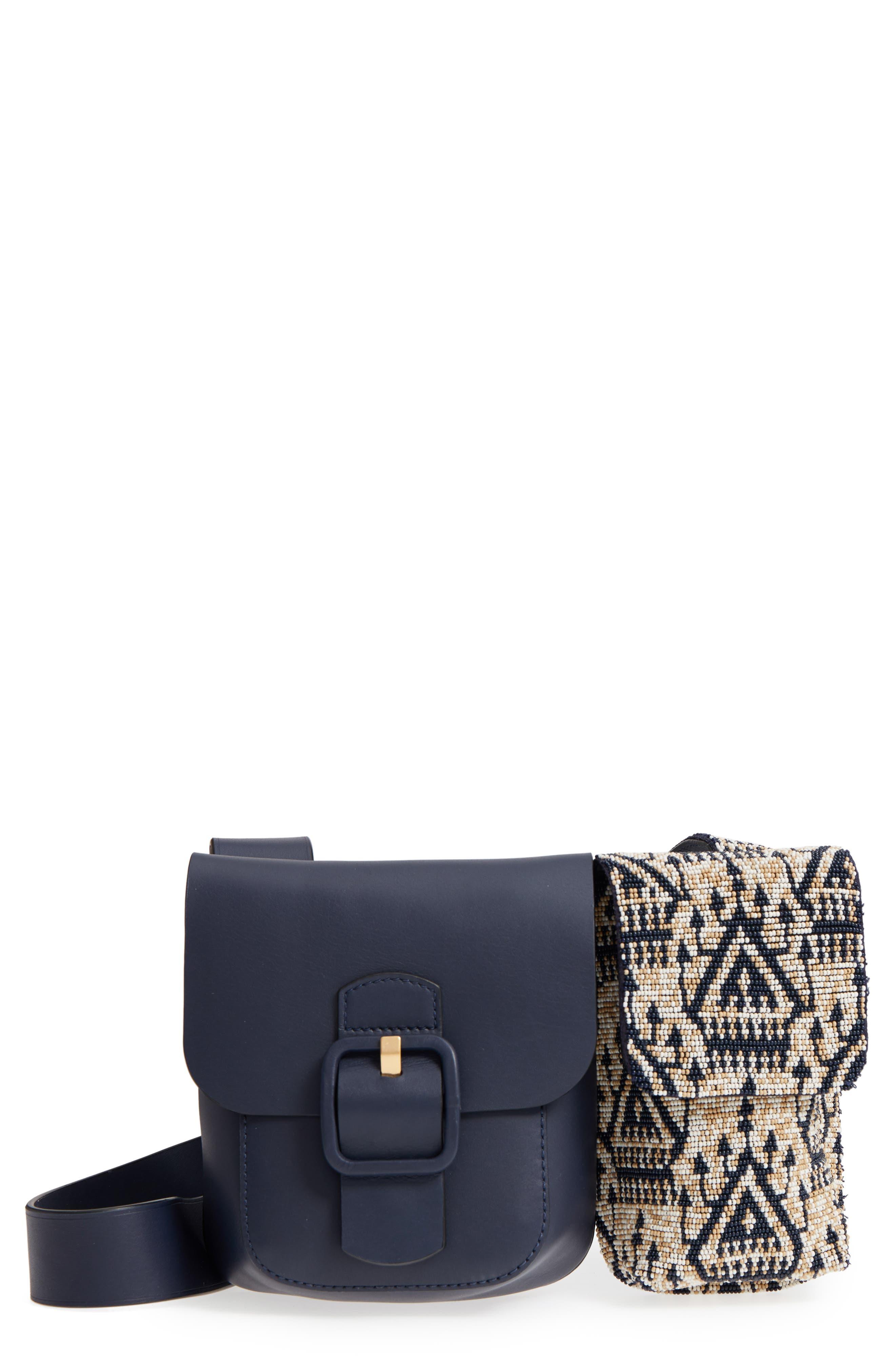 Sawyer Embellished Double Pocket Leather Shoulder Bag,                         Main,                         color, Navy