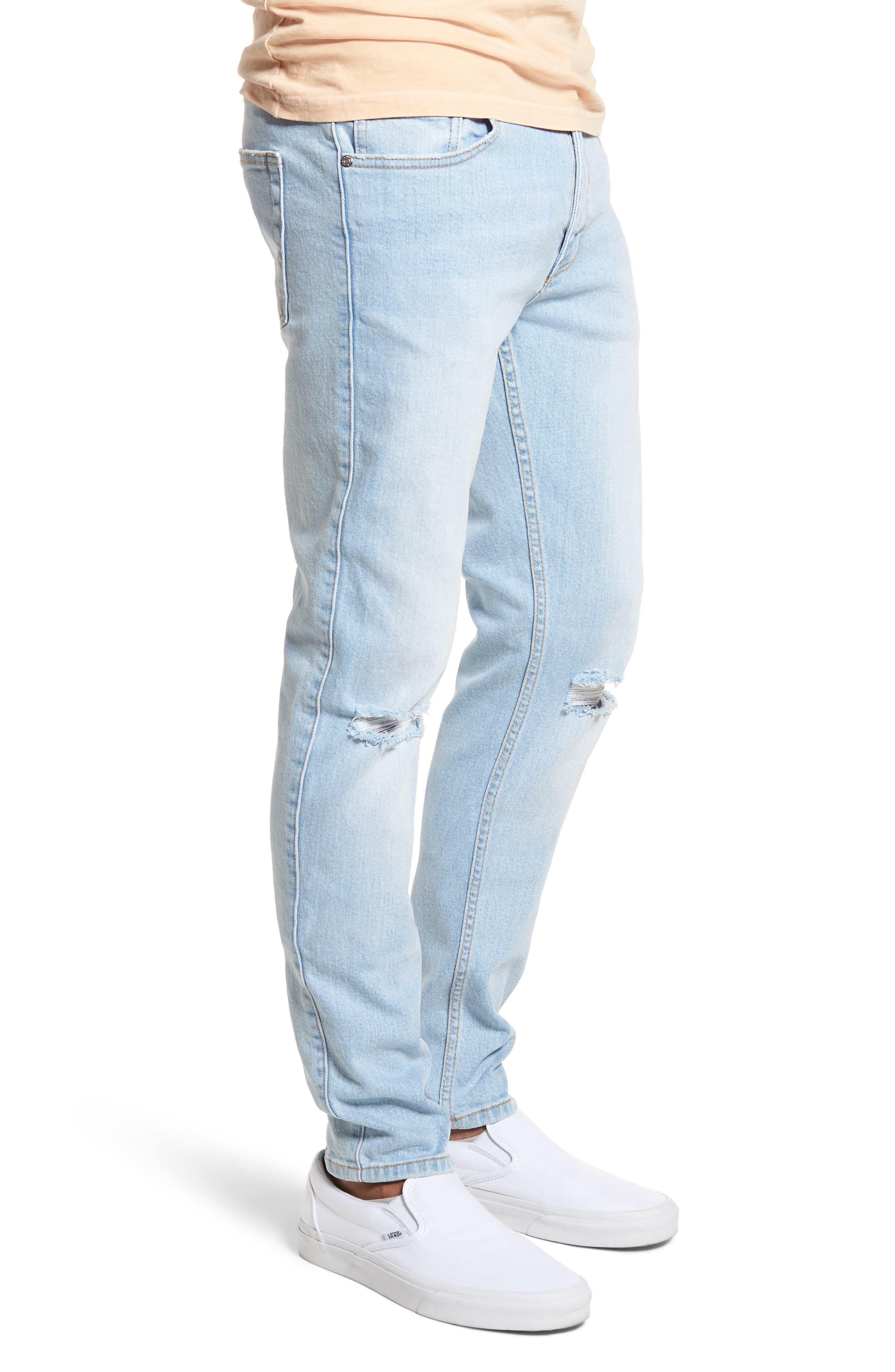 Clark Slim Straight Leg Jeans,                             Alternate thumbnail 3, color,                             Superlight Blue Ripped