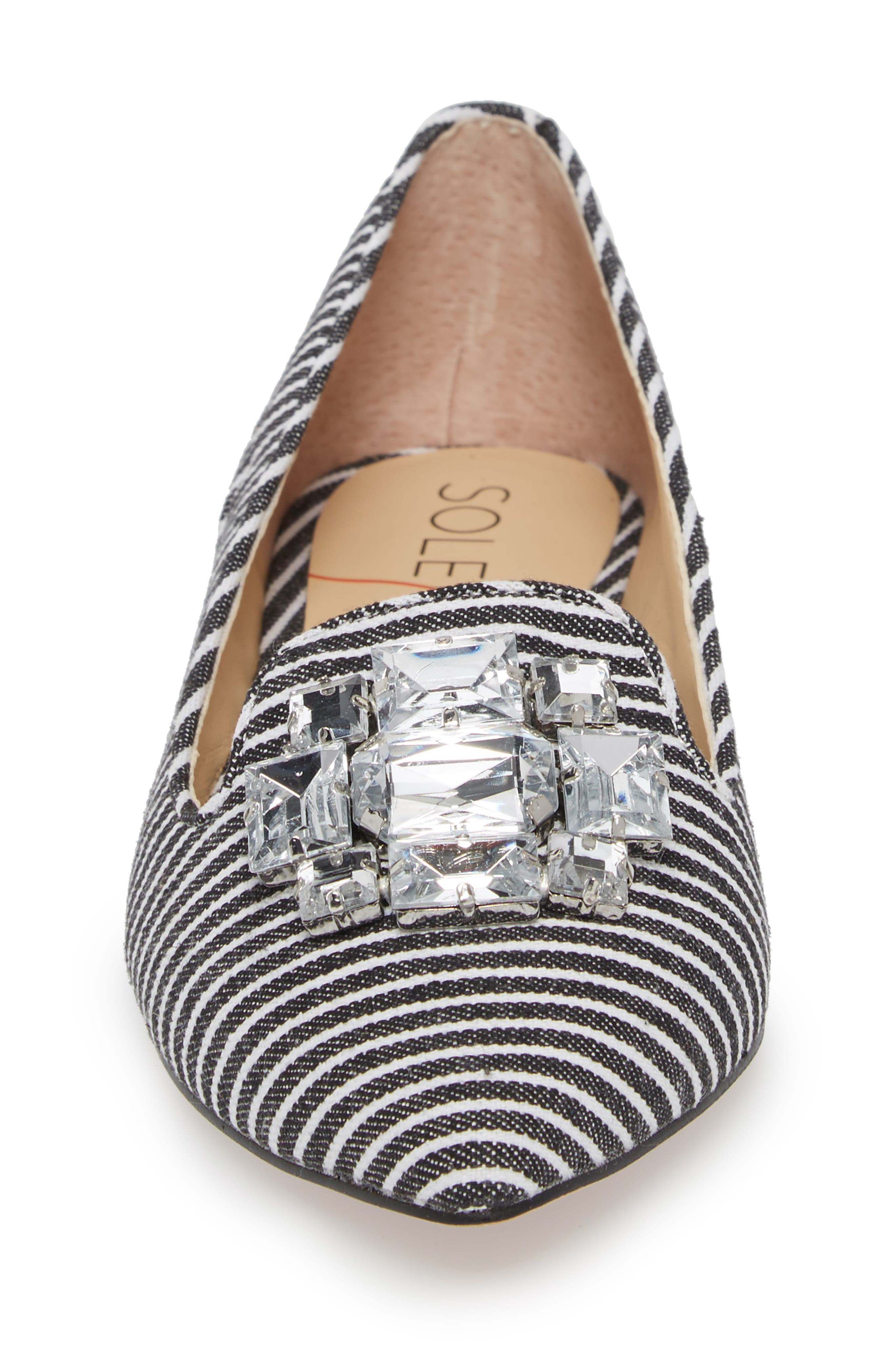 Libry Crystal Embellished Flat,                             Alternate thumbnail 4, color,                             Black/ White Fabric