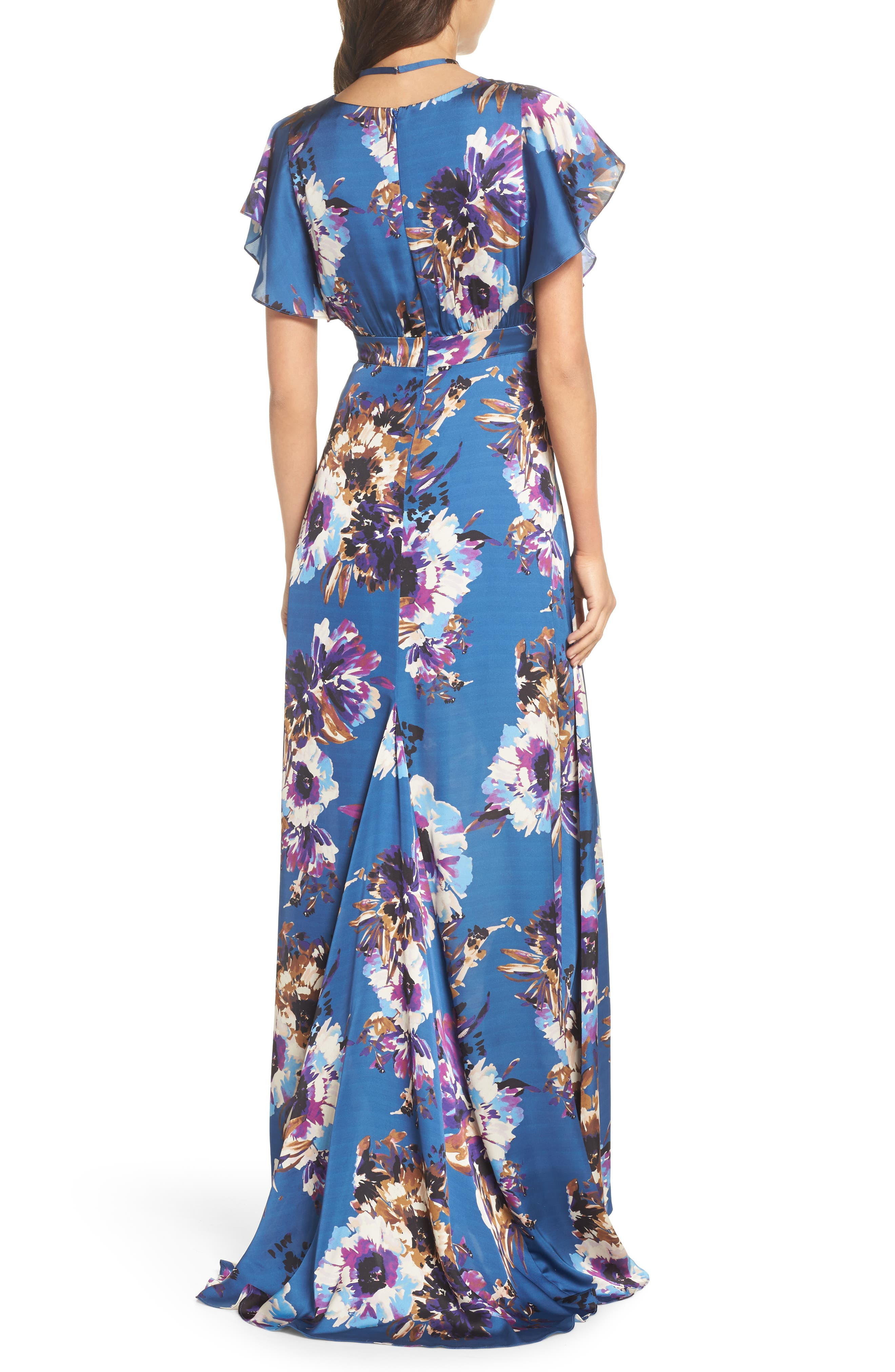 Floral Maxi Dress,                             Alternate thumbnail 3, color,                             French Blue Floral Satin
