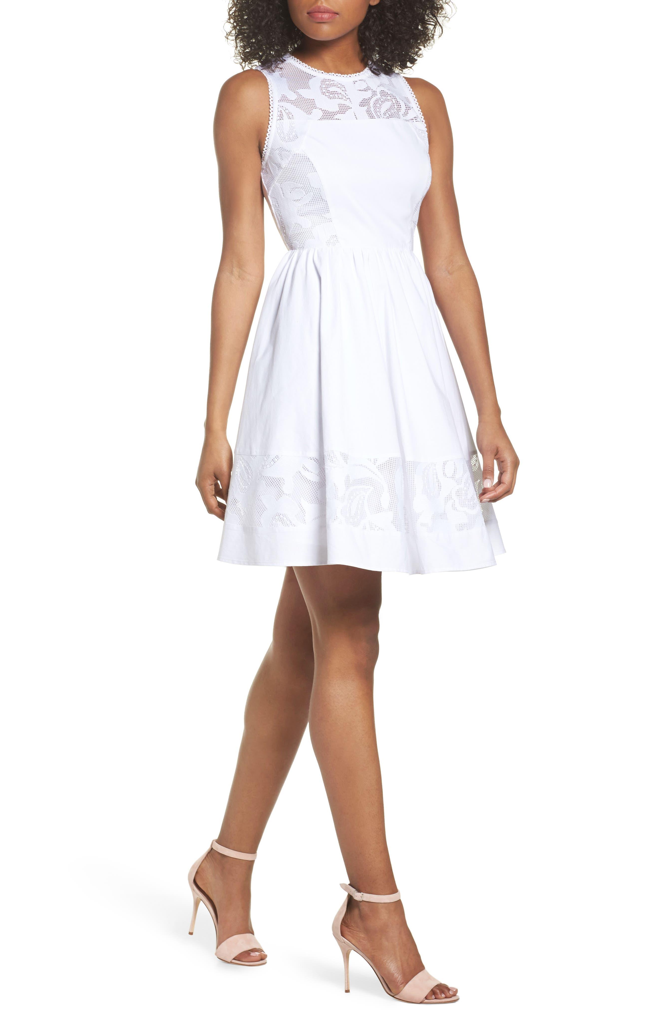 Lace Fit & Flare Dress,                             Main thumbnail 1, color,                             White Snow
