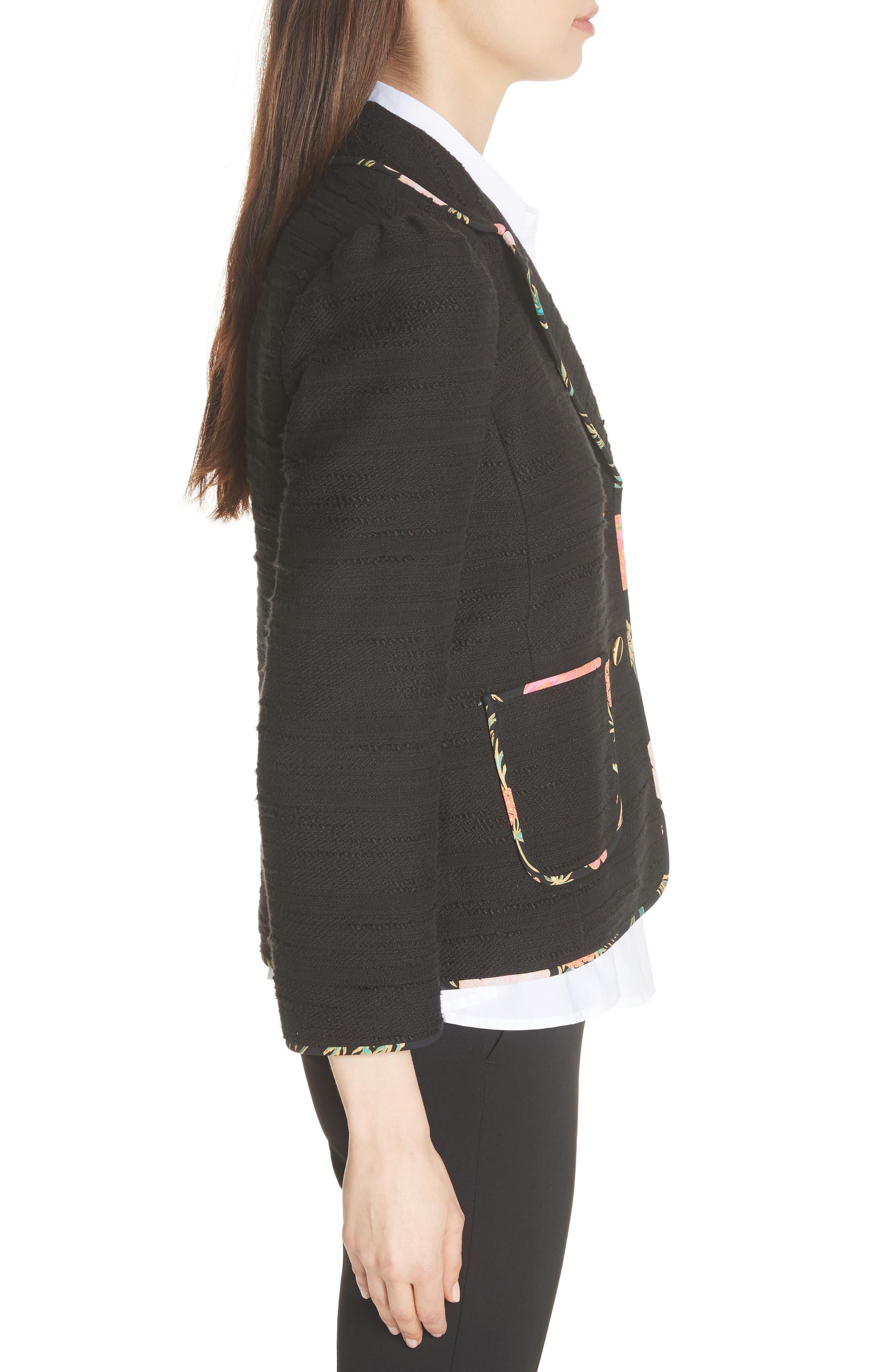 blossom trim tweed jacket,                             Alternate thumbnail 3, color,                             Black