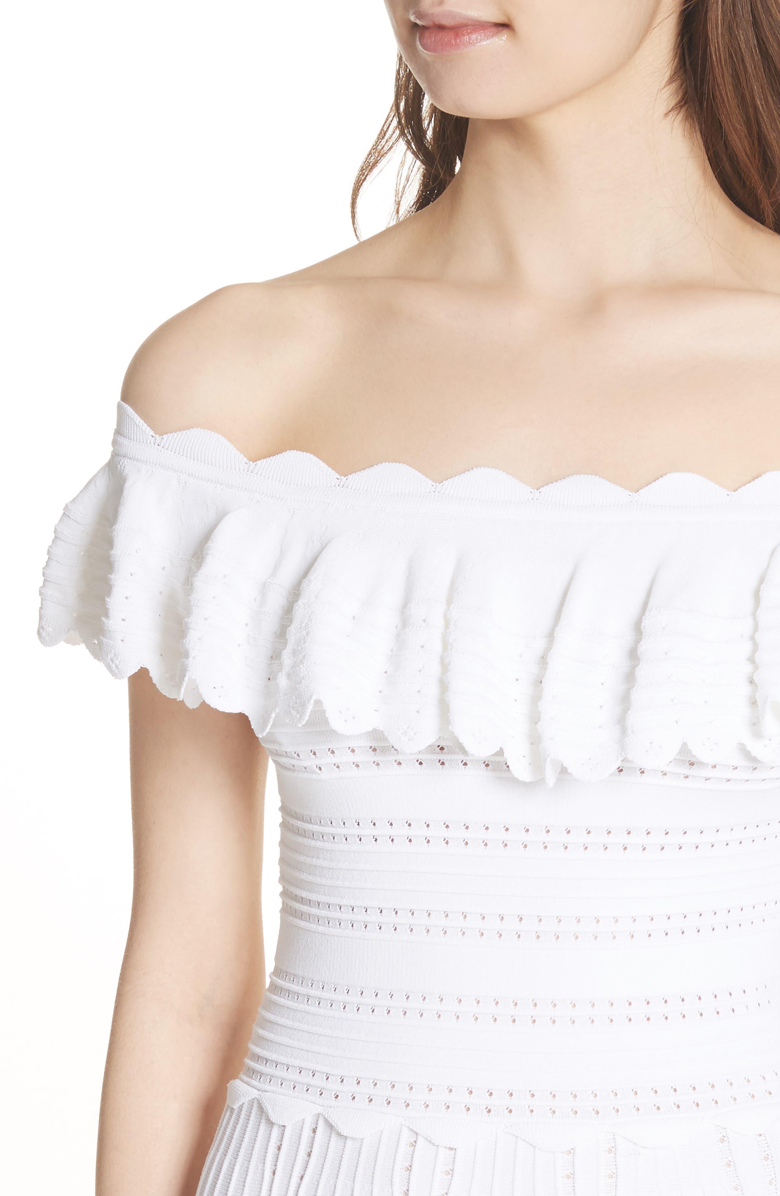 Janella Ruffled Off the Shoulder Dress,                             Alternate thumbnail 4, color,                             Optic White