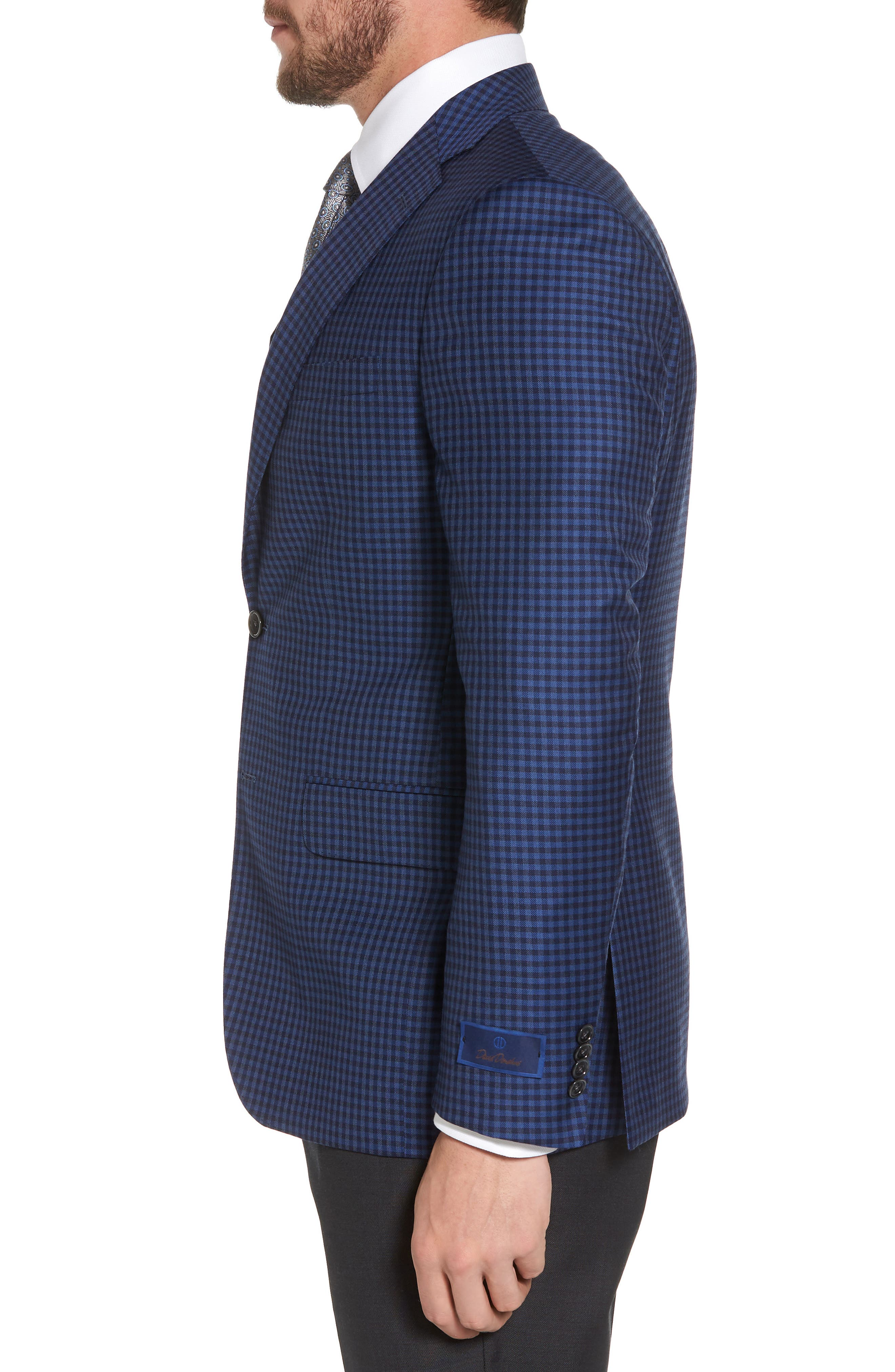 Connor Classic Fit Check Wool Sport Coat,                             Alternate thumbnail 3, color,                             Medium Blue