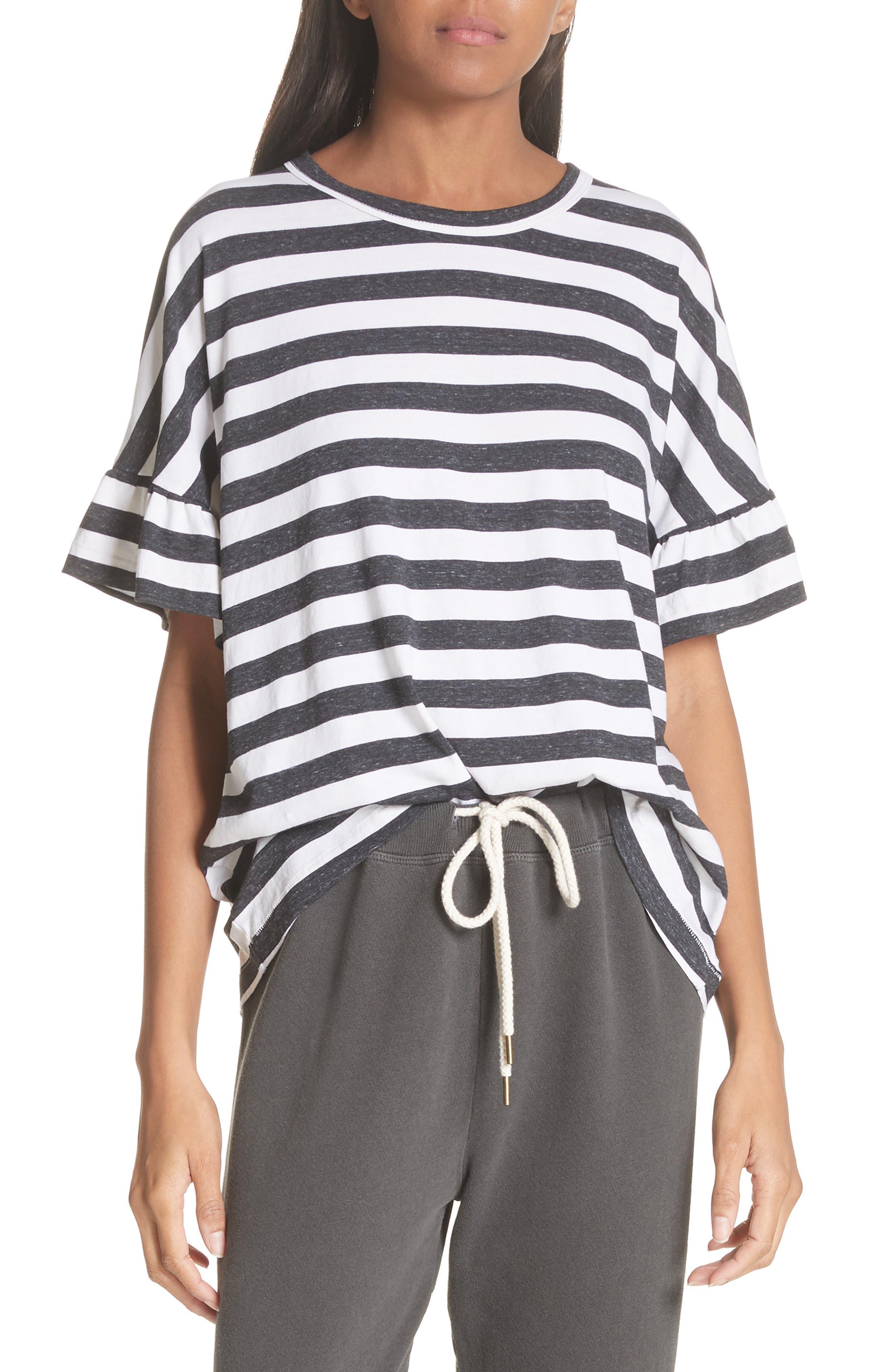 The Ruffle Stripe Tee,                         Main,                         color, Charcoal Stripe