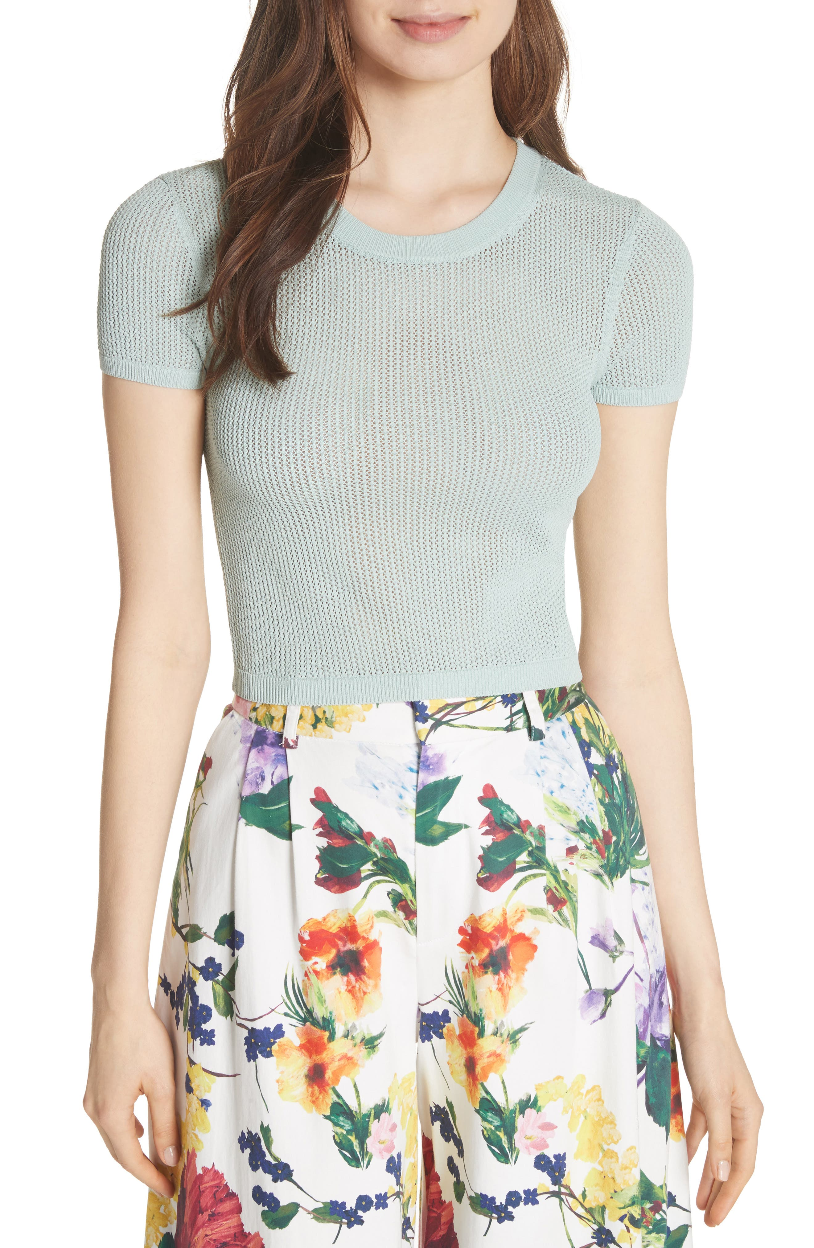 Alternate Image 1 Selected - Alice + Olivia Ciara Textured Crop Top