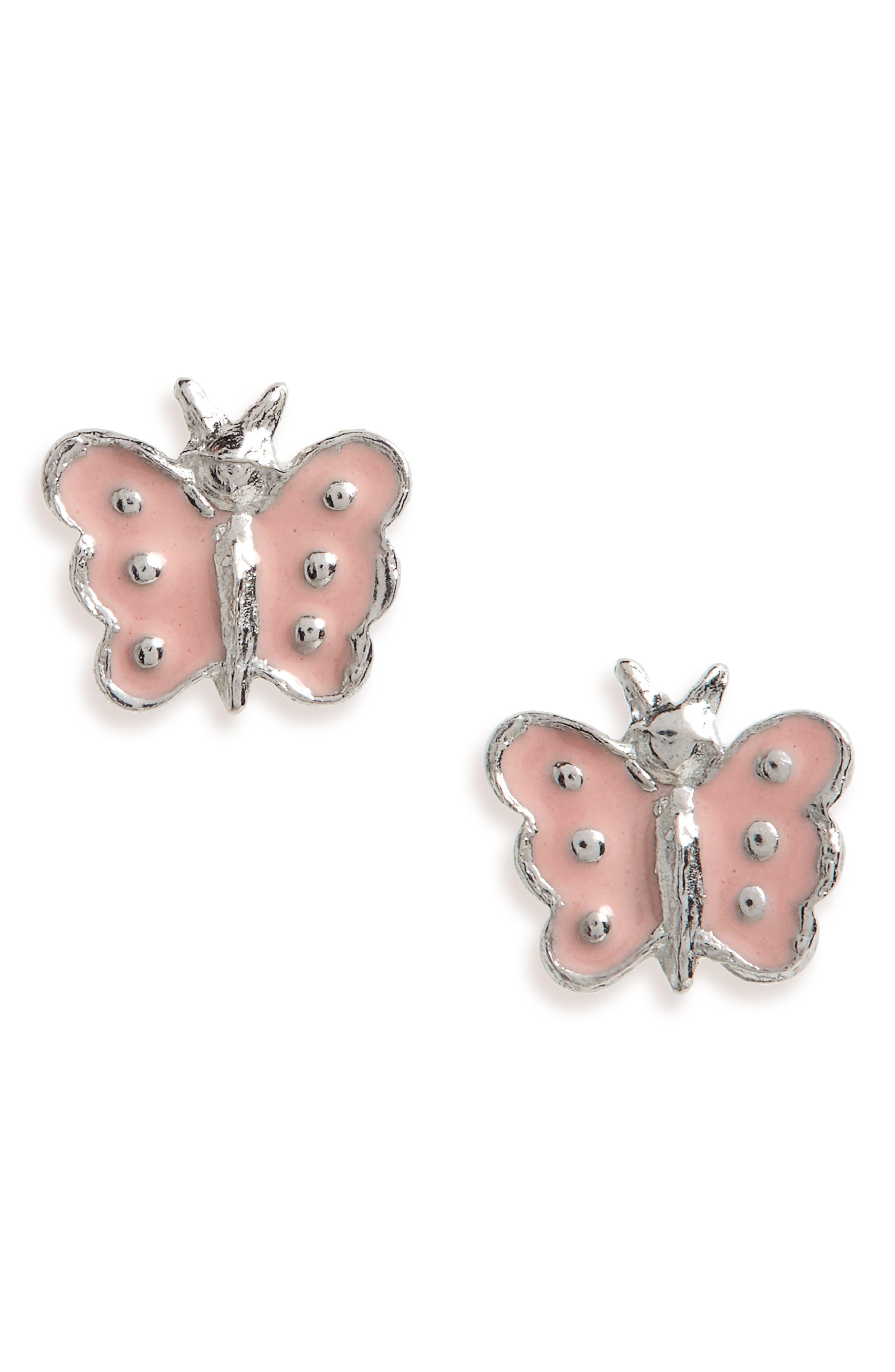 Kardee Kids Enamel Butterfly Earrings,                             Main thumbnail 1, color,                             Pink Silver Enamel