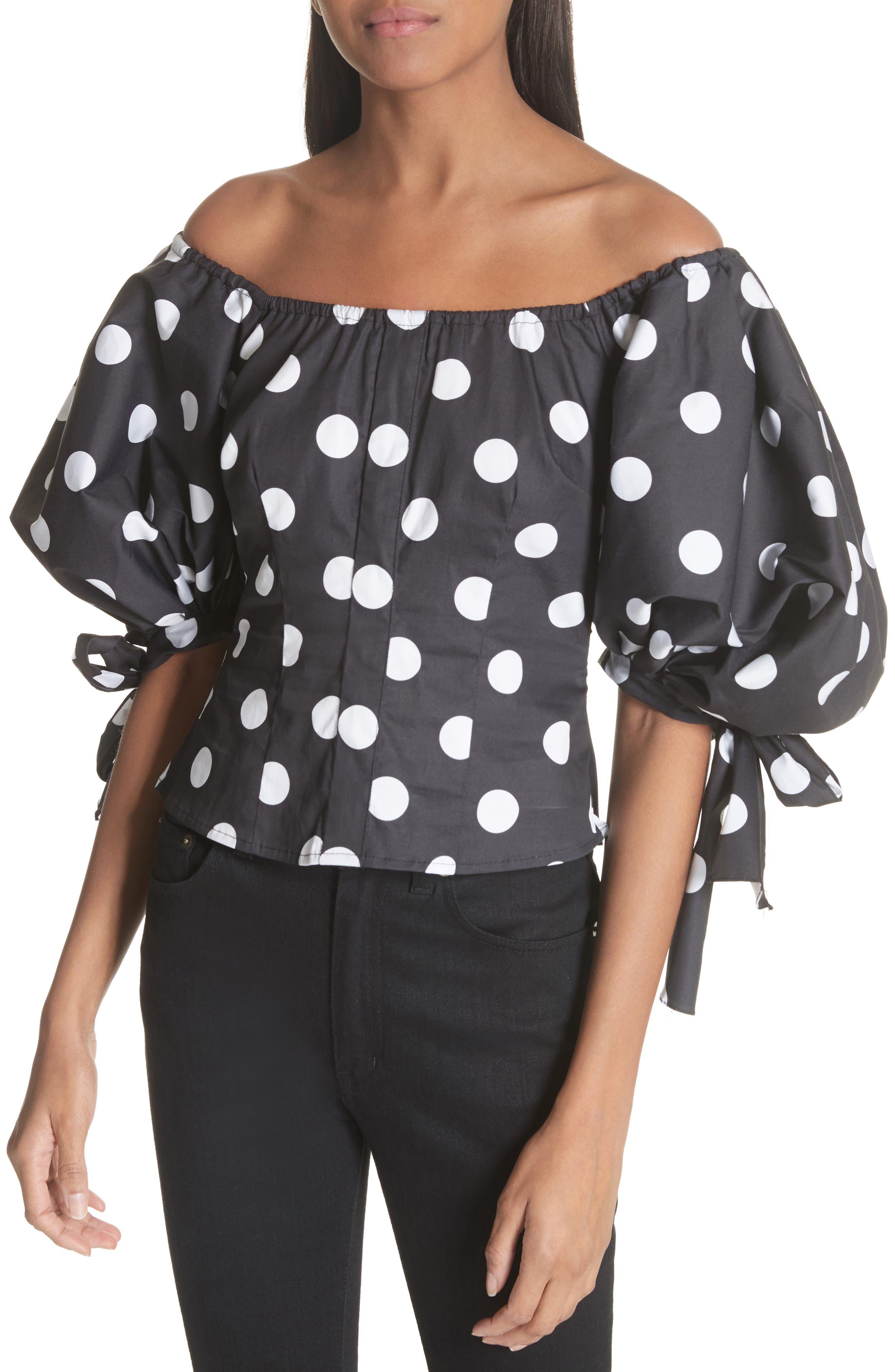 Nella Polka Dot Off the Shoulder Top,                         Main,                         color, Black/ White