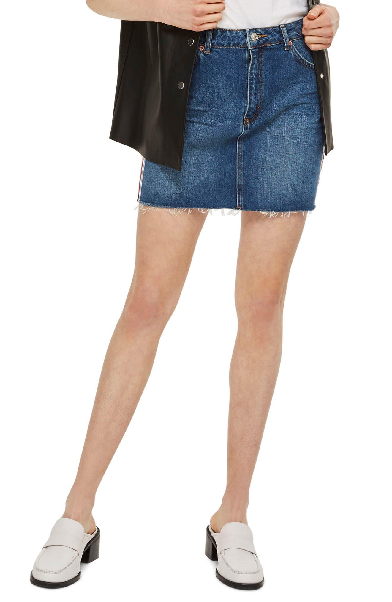 Varsity Stripe Denim Miniskirt,                             Alternate thumbnail 2, color,                             Mid Denim