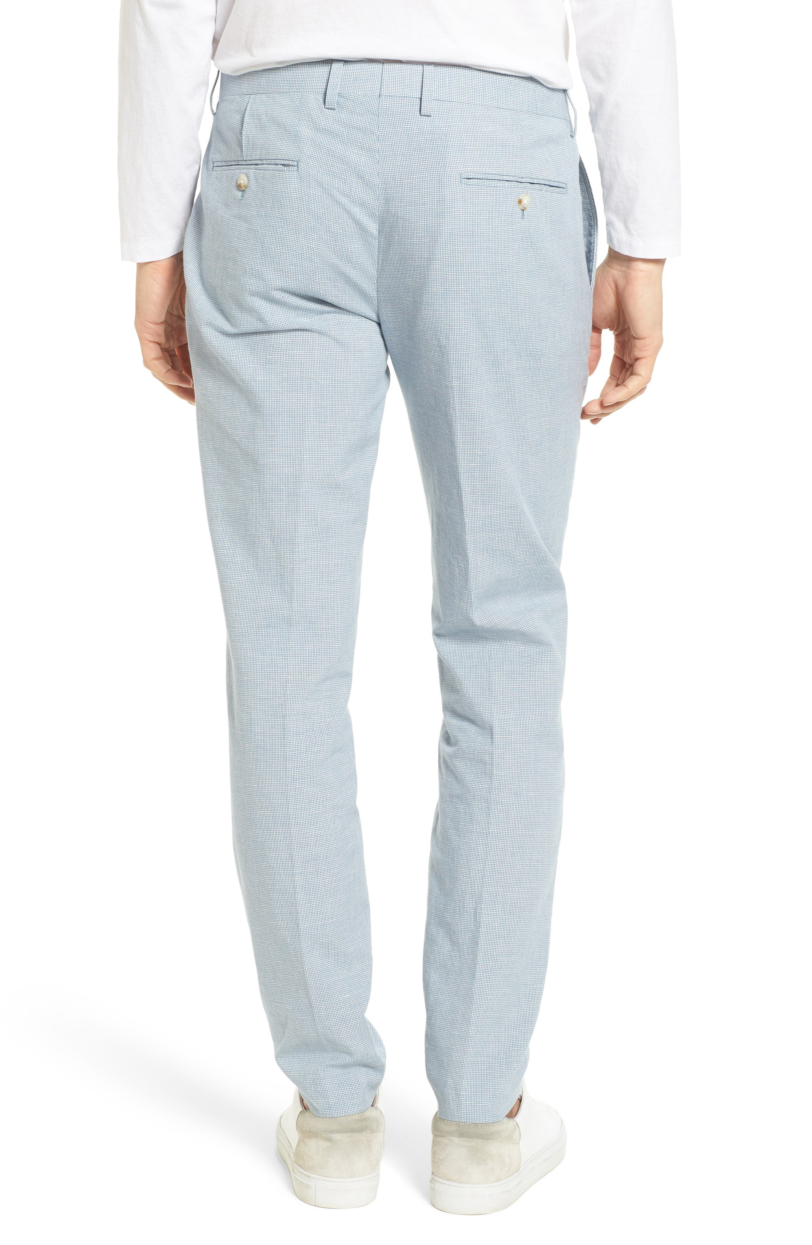 Ludlow Trim Fit Houndstooth Cotton & Linen Suit Pants,                             Alternate thumbnail 2, color,                             Light Blue