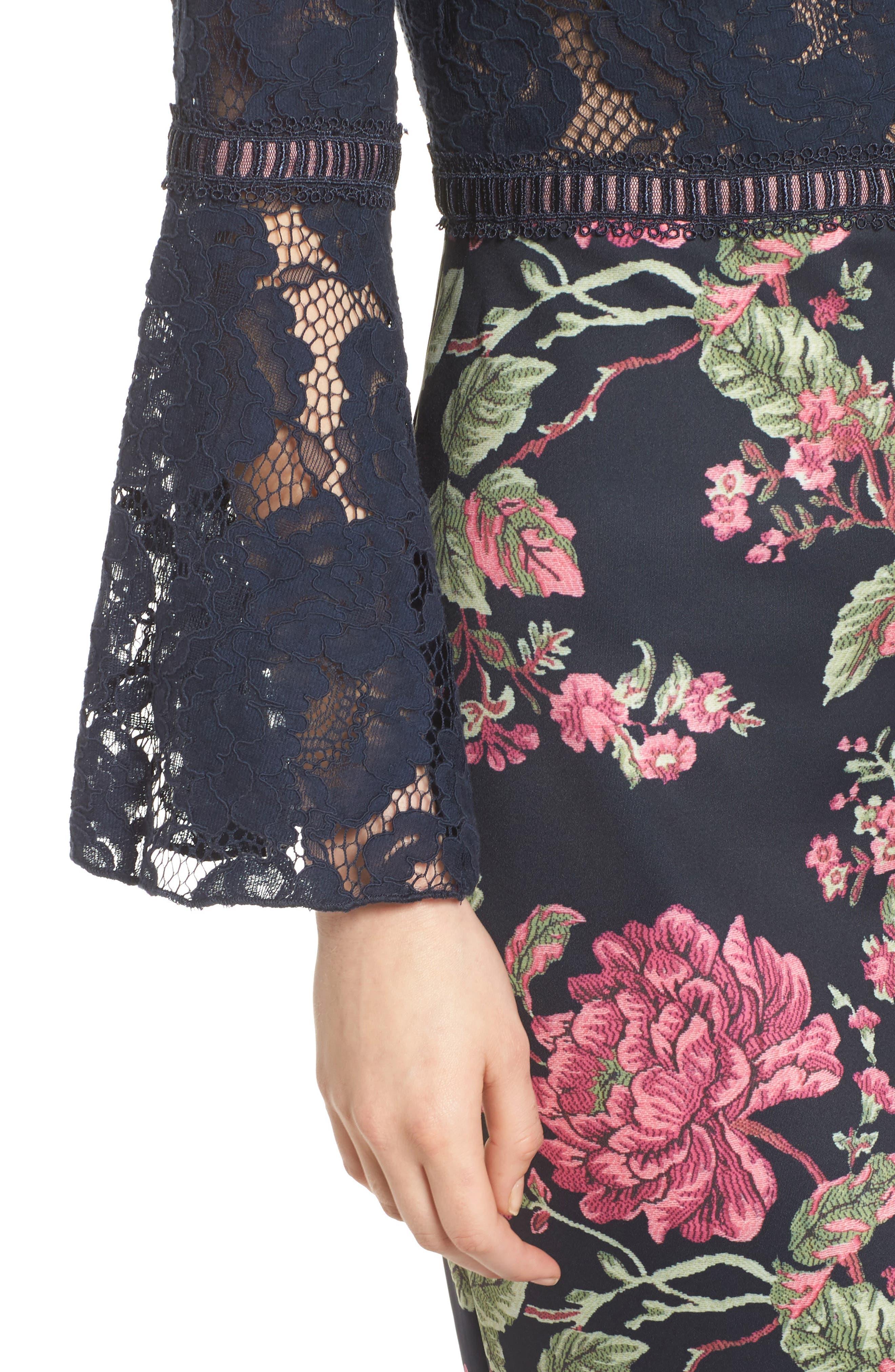 Lace & Neoprene Bell Sleeve Dress,                             Alternate thumbnail 4, color,                             Navy