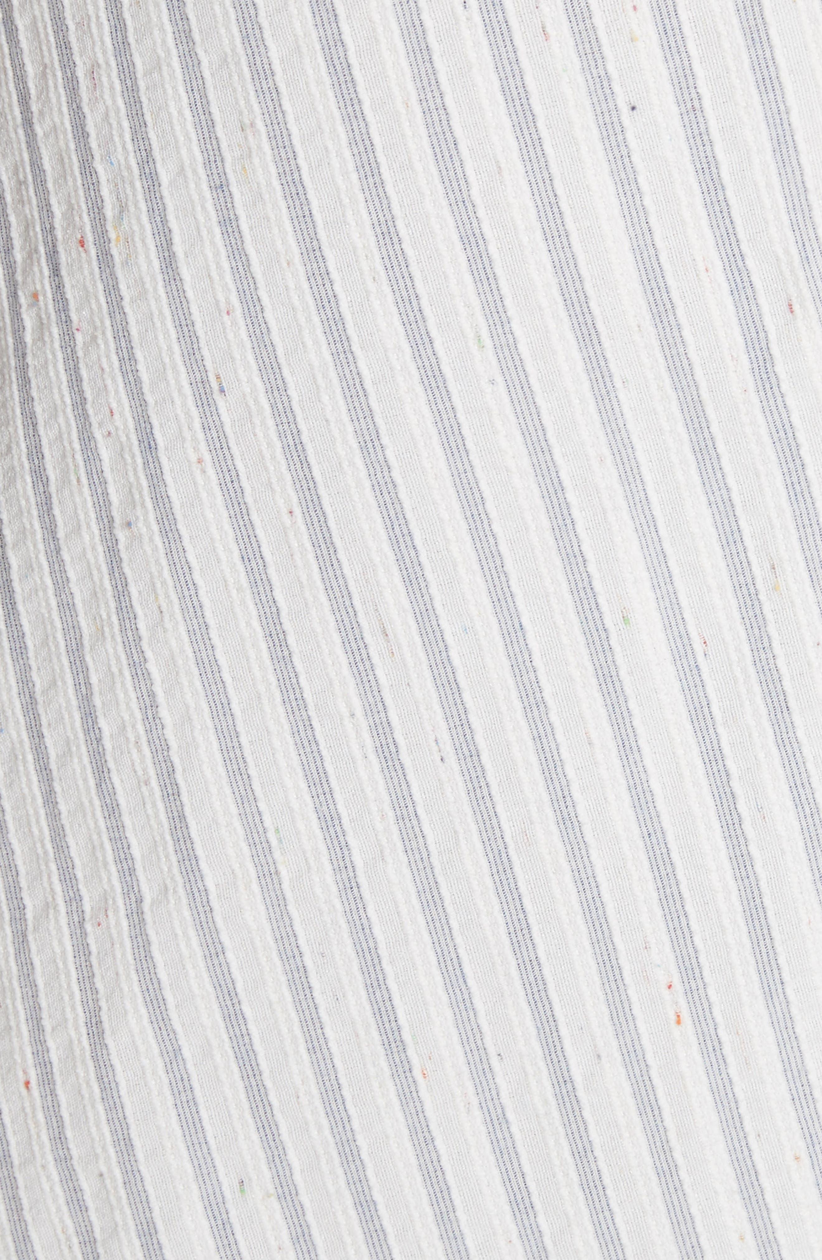 Ruffled Stripe Midi Dress,                             Alternate thumbnail 5, color,                             Blue Combo