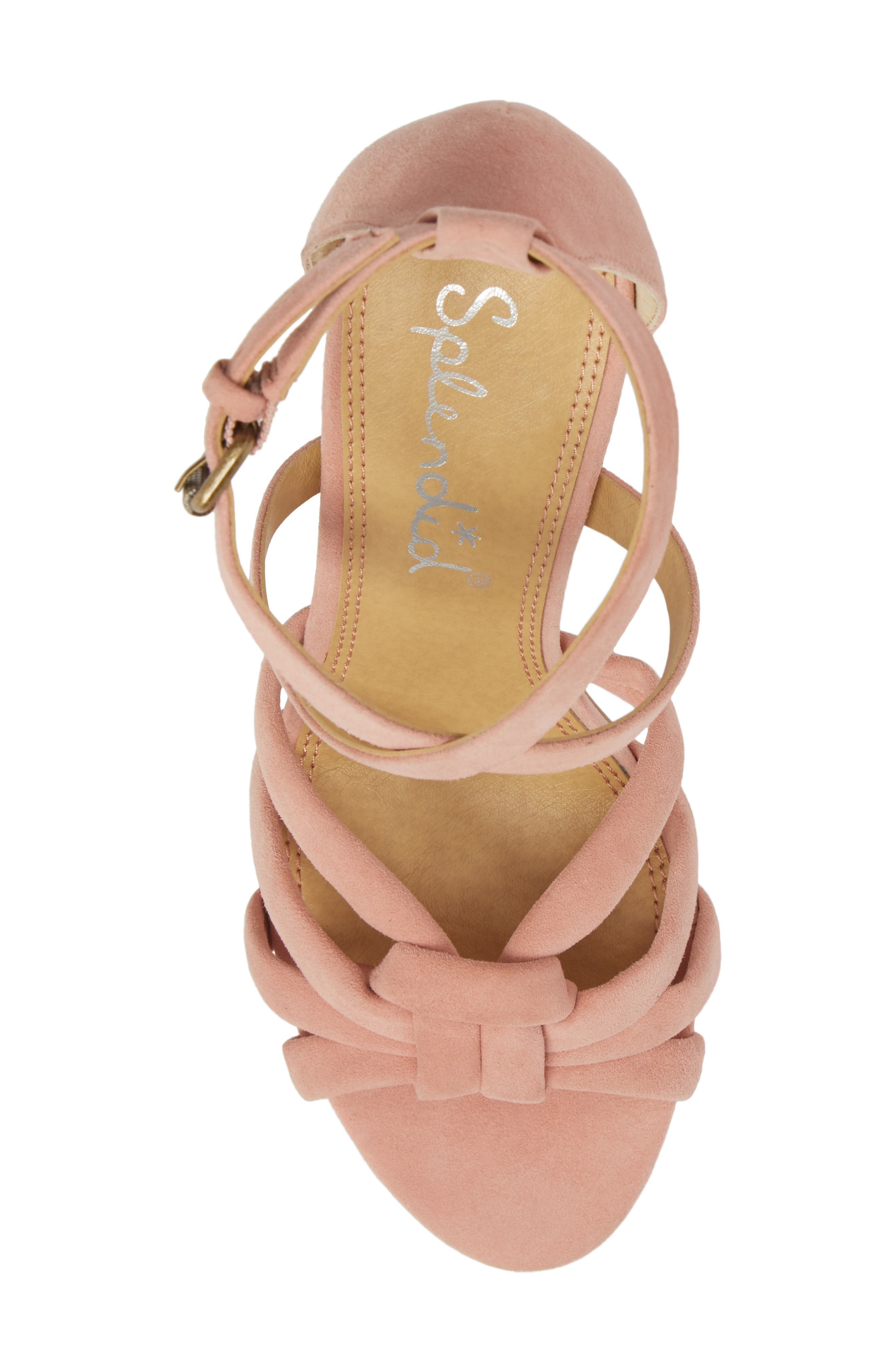 Faris Block Heel Sandal,                             Alternate thumbnail 5, color,                             Blush Suede