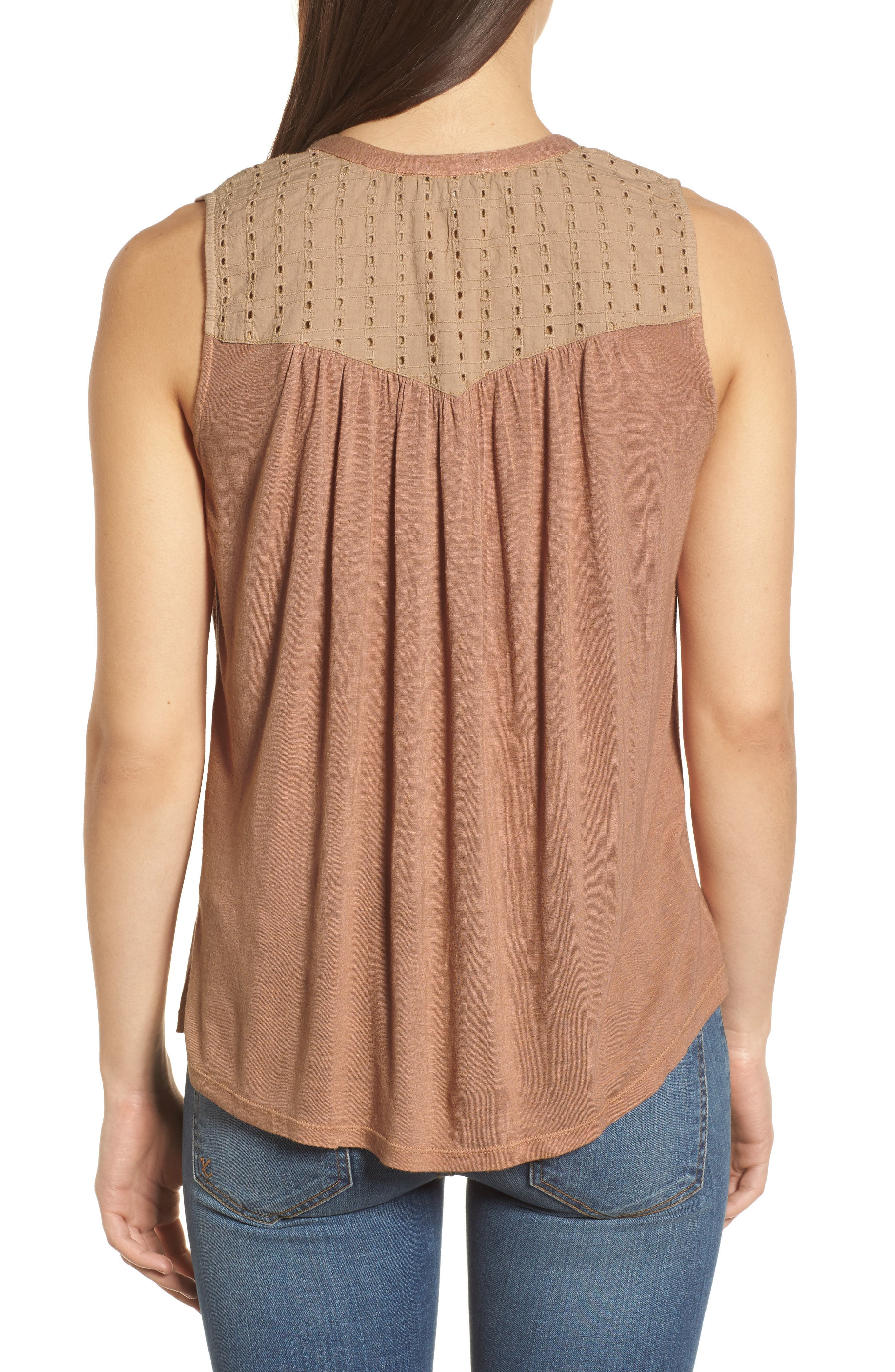 Embroidered Shell,                             Alternate thumbnail 2, color,                             Toffee Blush