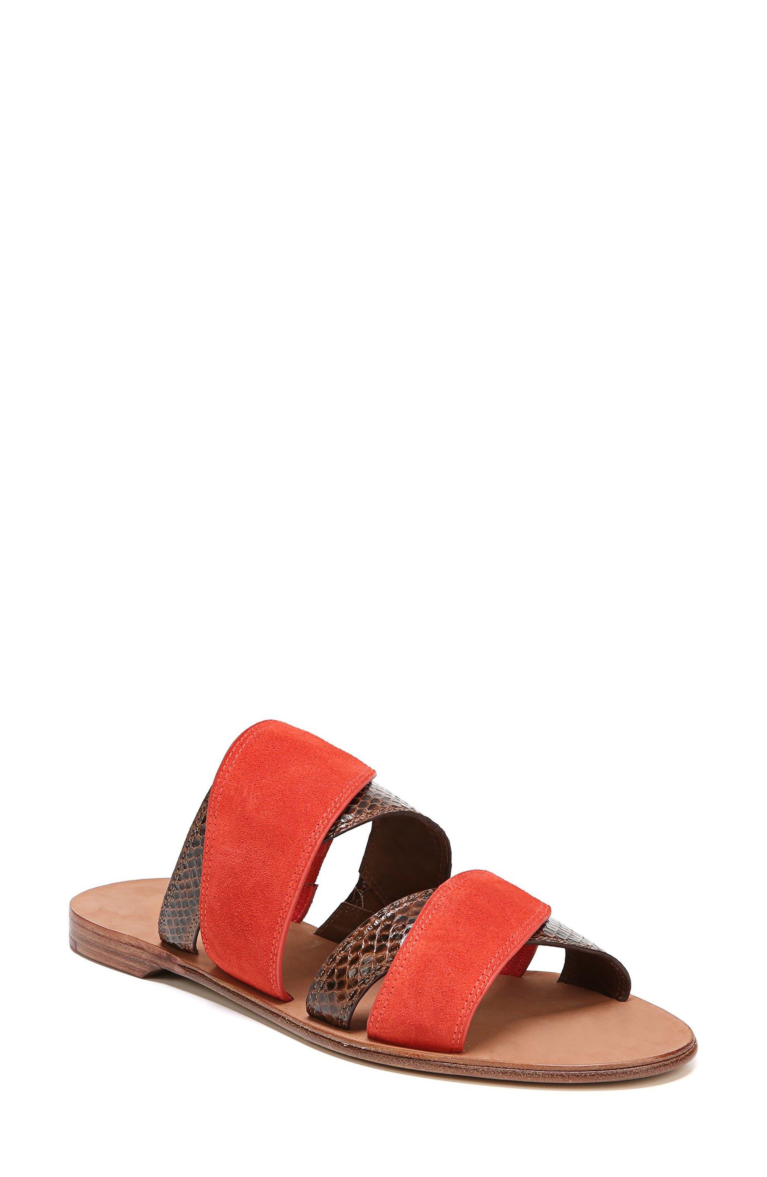Blake Cross Strap Slide Sandal,                             Main thumbnail 1, color,                             Caramel/ Red