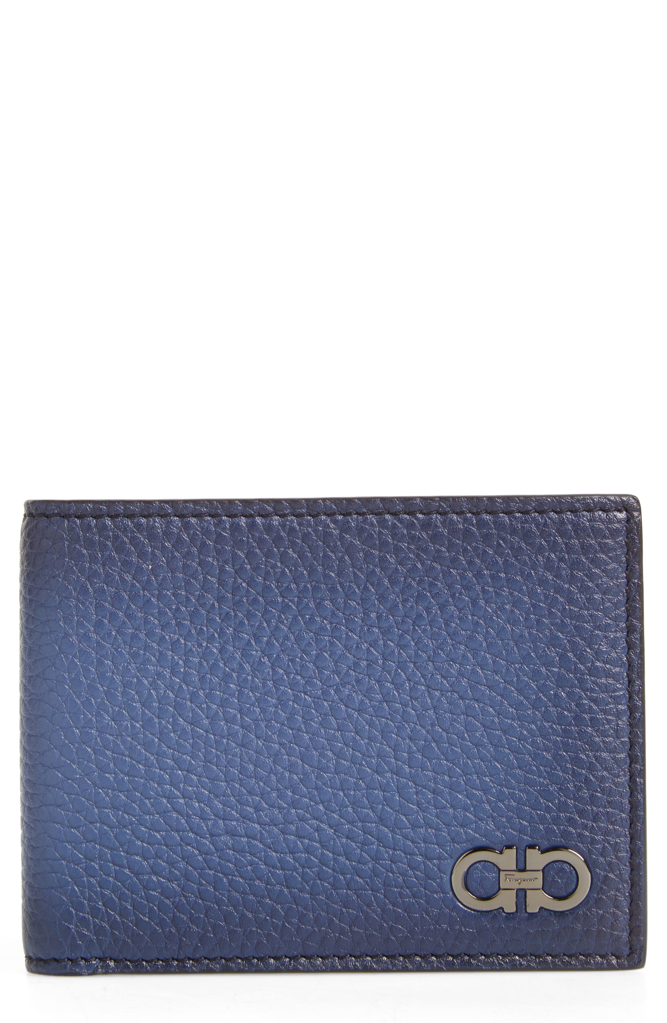 Firenze Glow Calfskin Leather Bifold Wallet,                             Main thumbnail 1, color,                             Blue