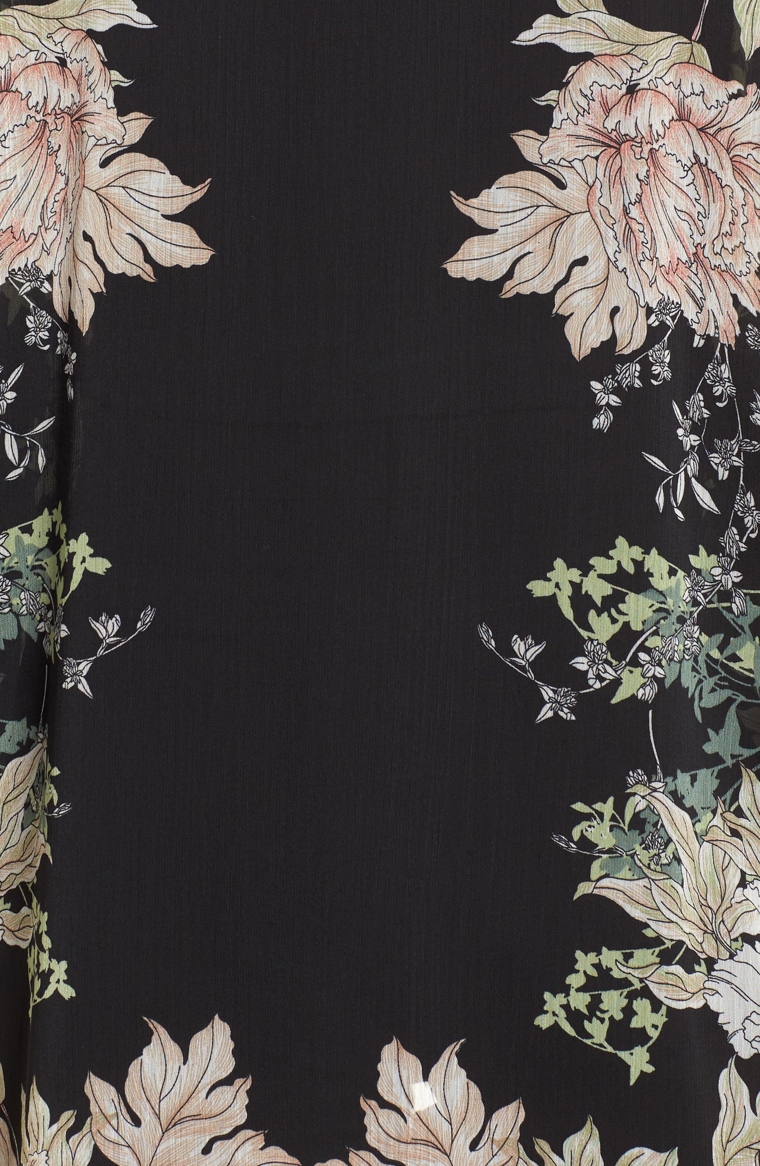 Floral Print Kimono,                             Alternate thumbnail 6, color,                             Black Gold Pink